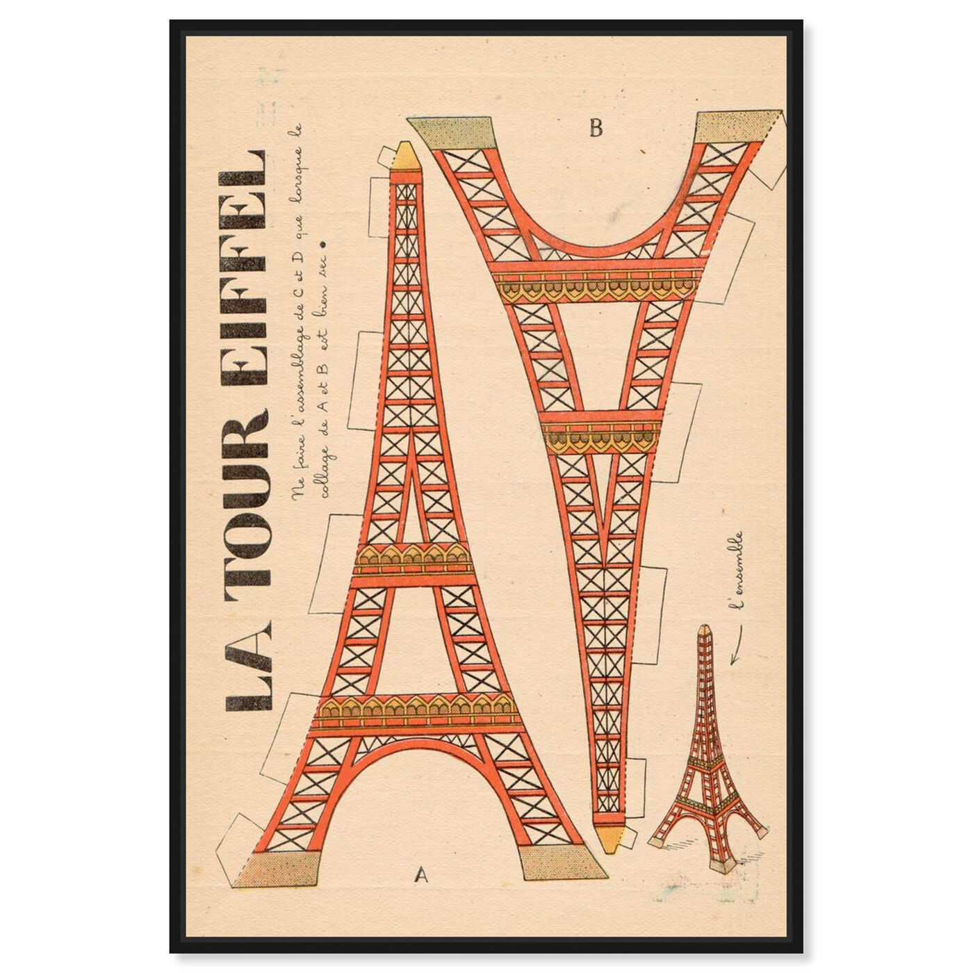 Front view of La Tour Eiffel featuring advertising and posters art.