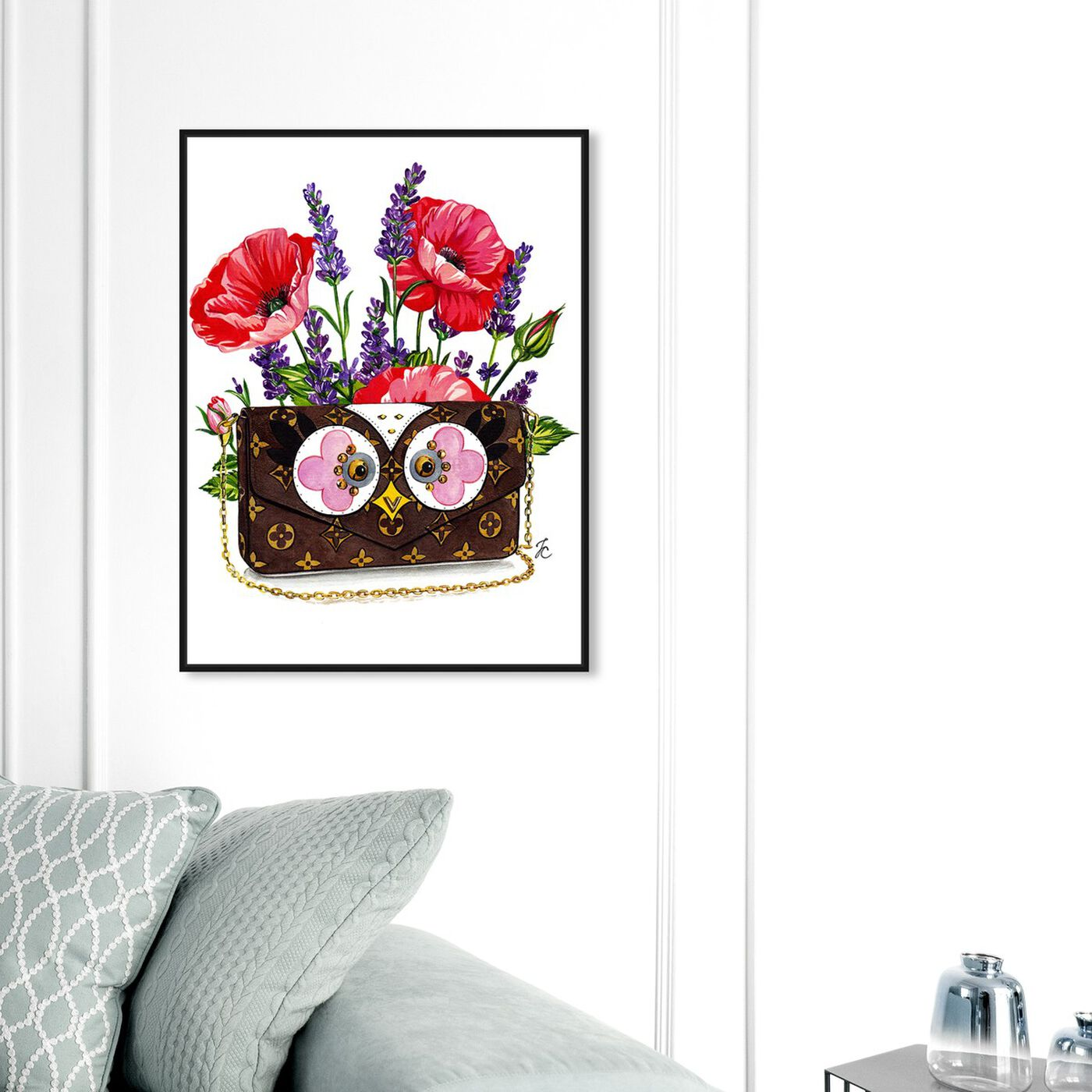 Hanging view of Doll Memories - Poppies and Owl featuring fashion and glam and handbags art.