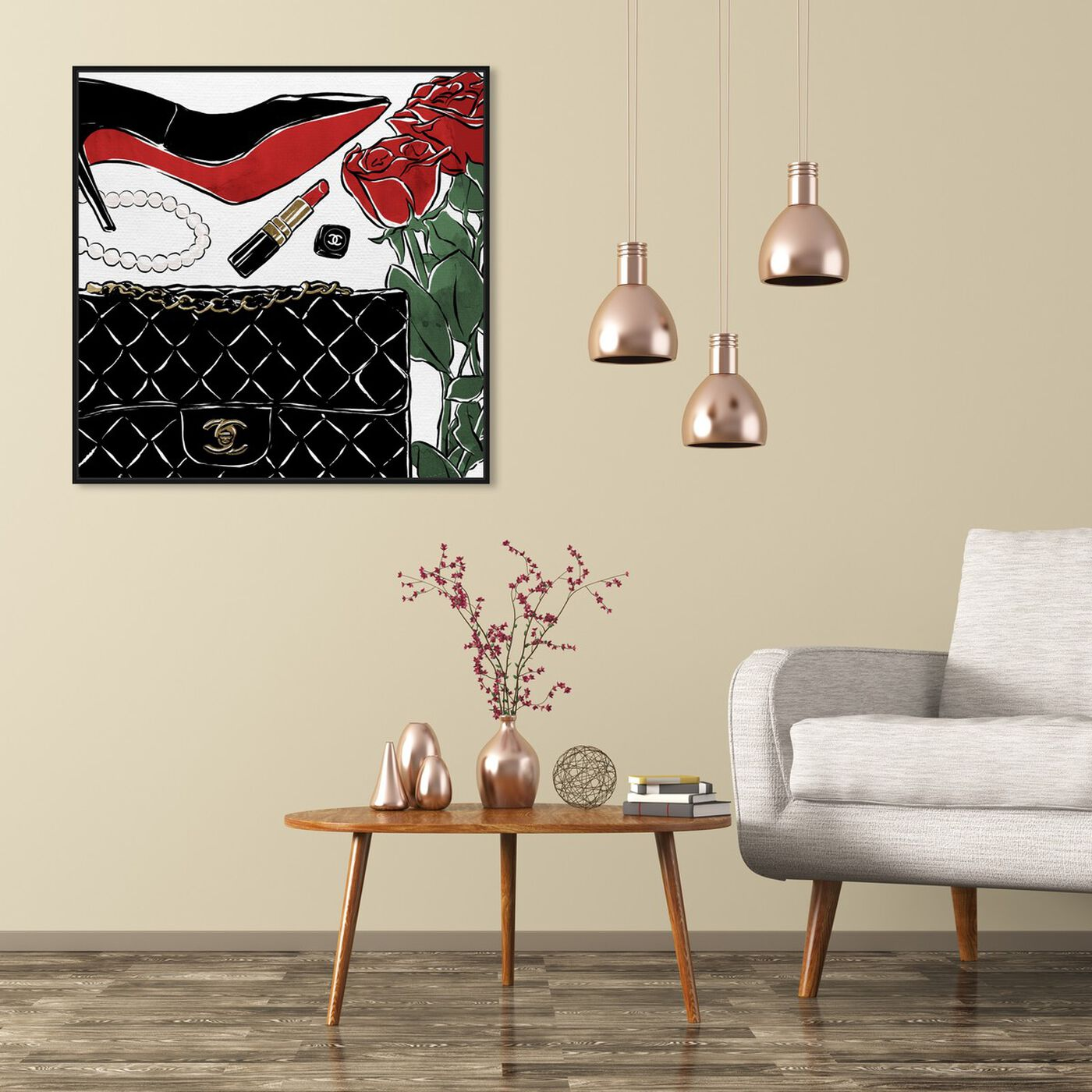 Hanging view of Red Roses and Black Purses featuring fashion and glam and shoes art.