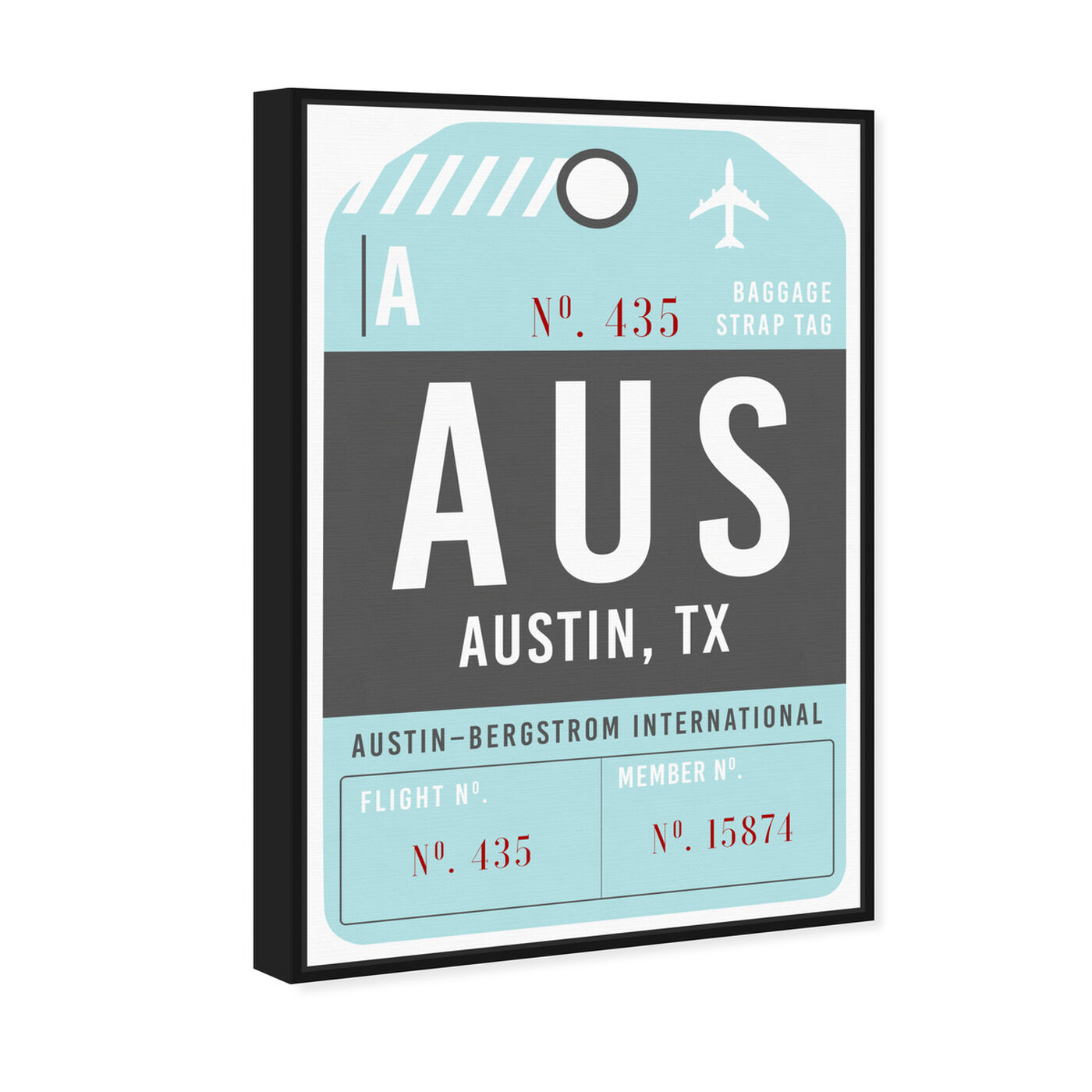 Angled view of Austin Luggage Tag featuring typography and quotes and united states cities art.