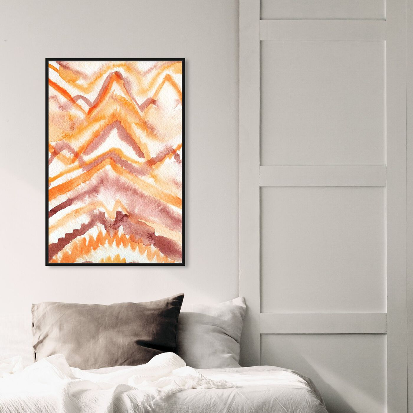 Hanging view of Wild Sun Ray featuring abstract and watercolor art.