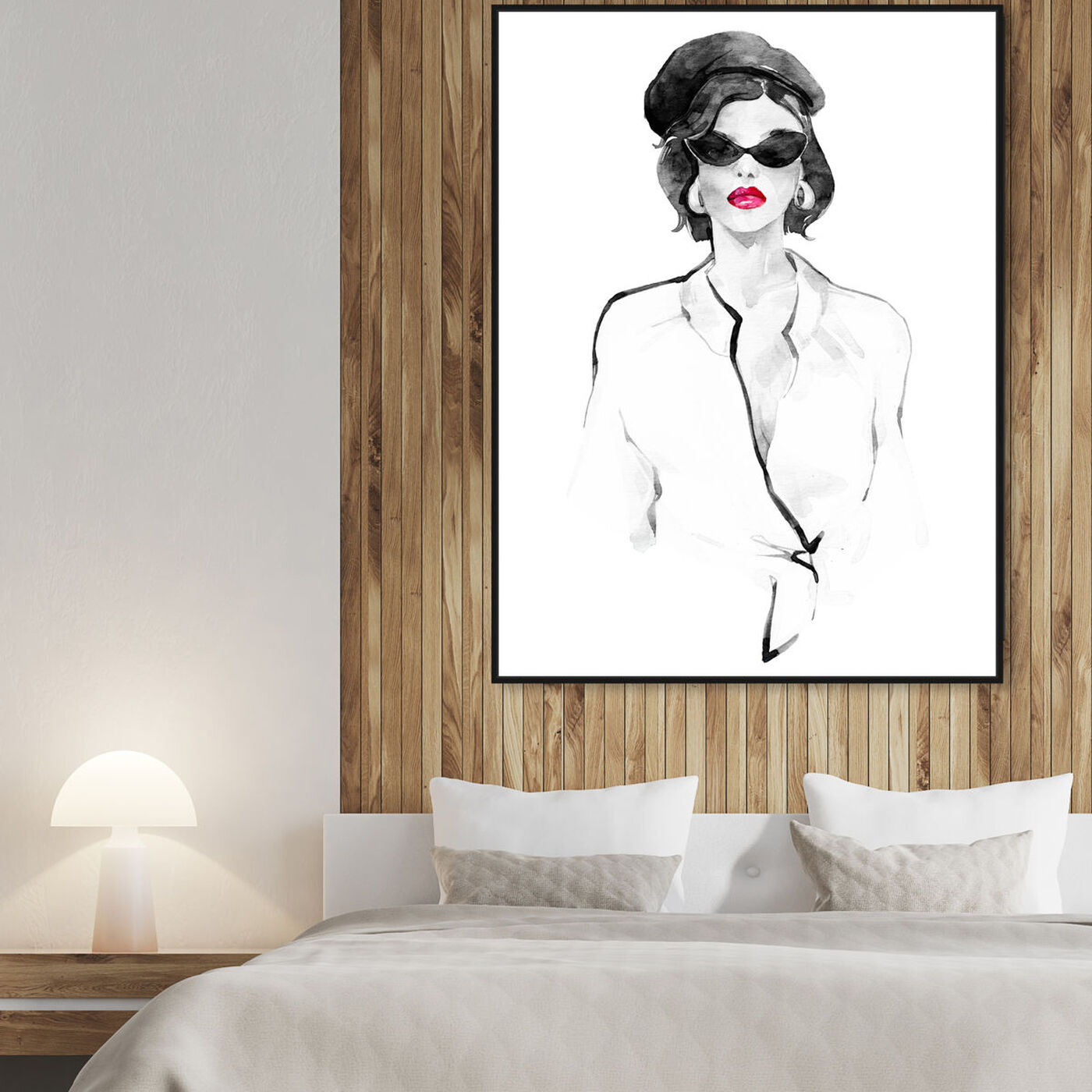 Hanging view of French Beret and Ready Mono featuring fashion and glam and lips art.