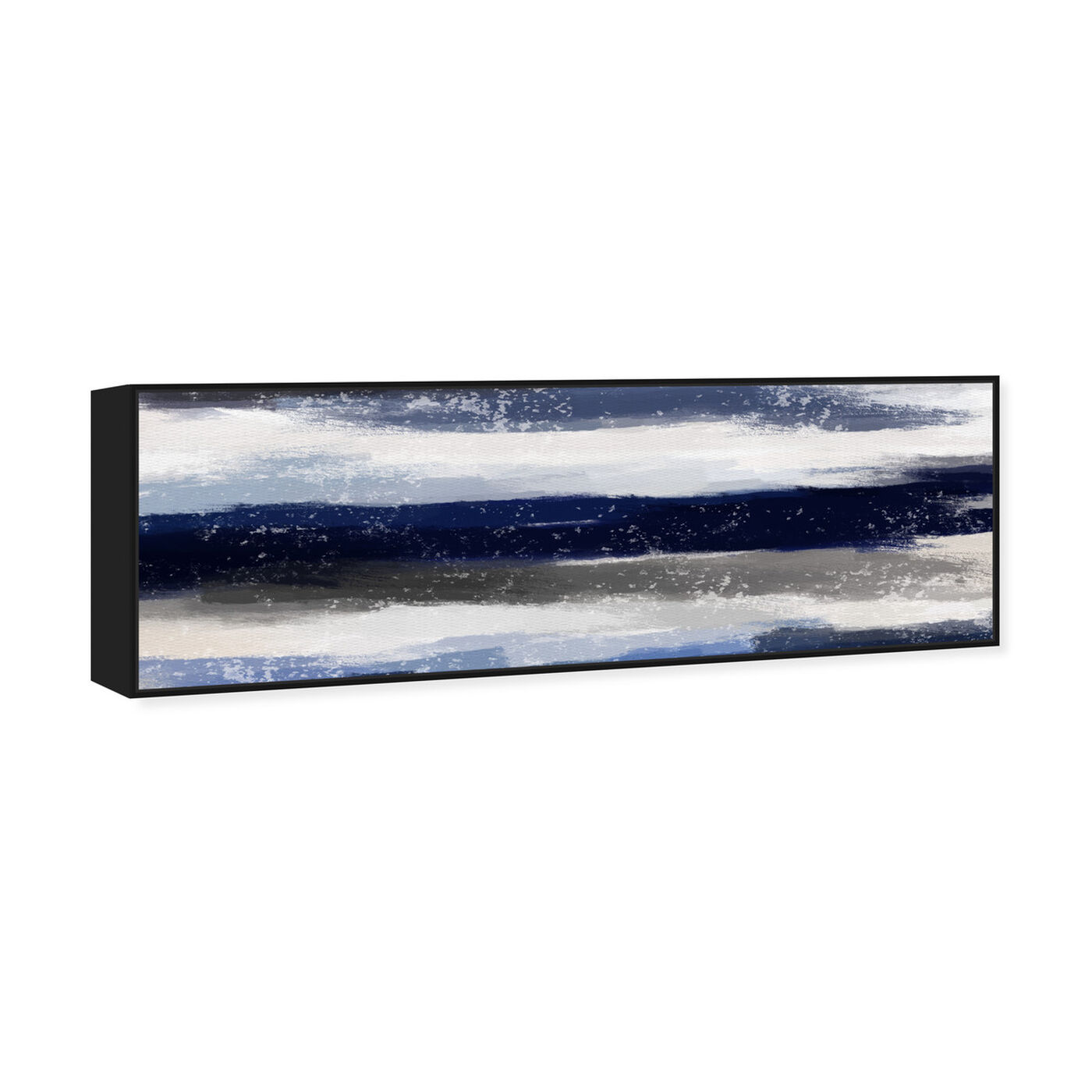 Angled view of Sapphire Shades Long featuring abstract and watercolor art.