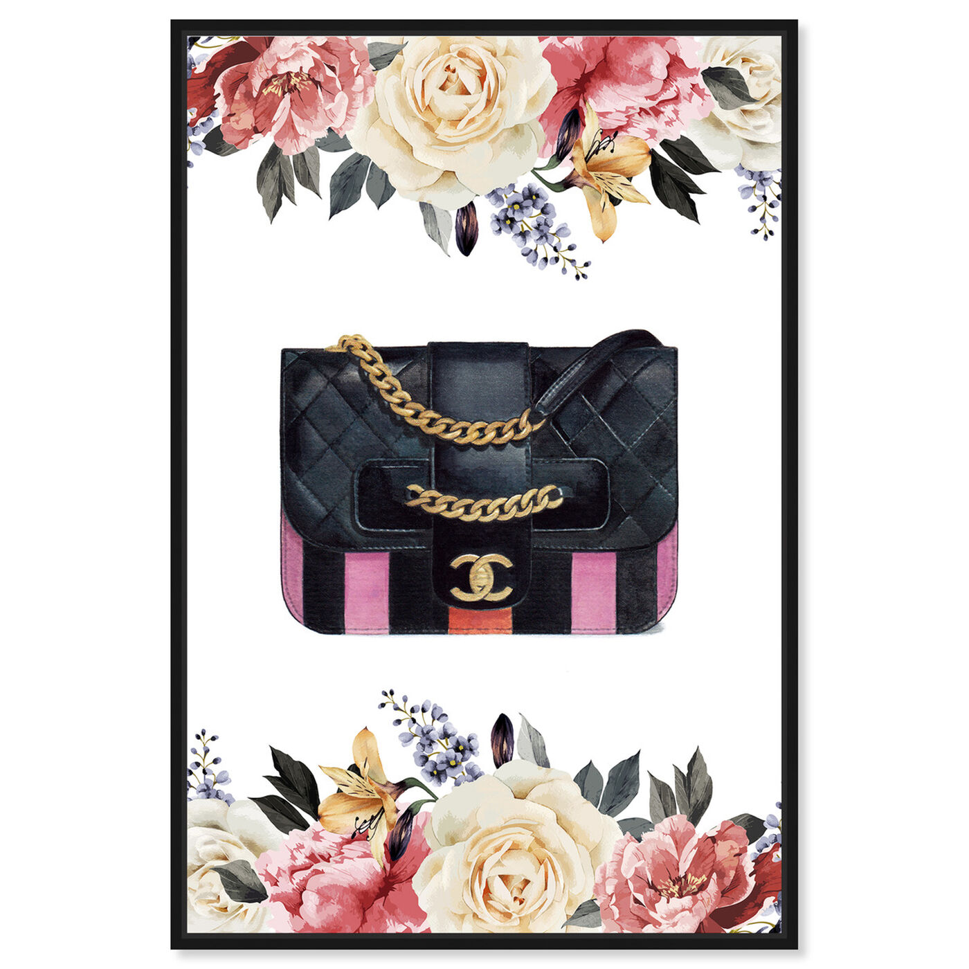 Front view of Doll Memories - Flower Party Bag featuring fashion and glam and handbags art.