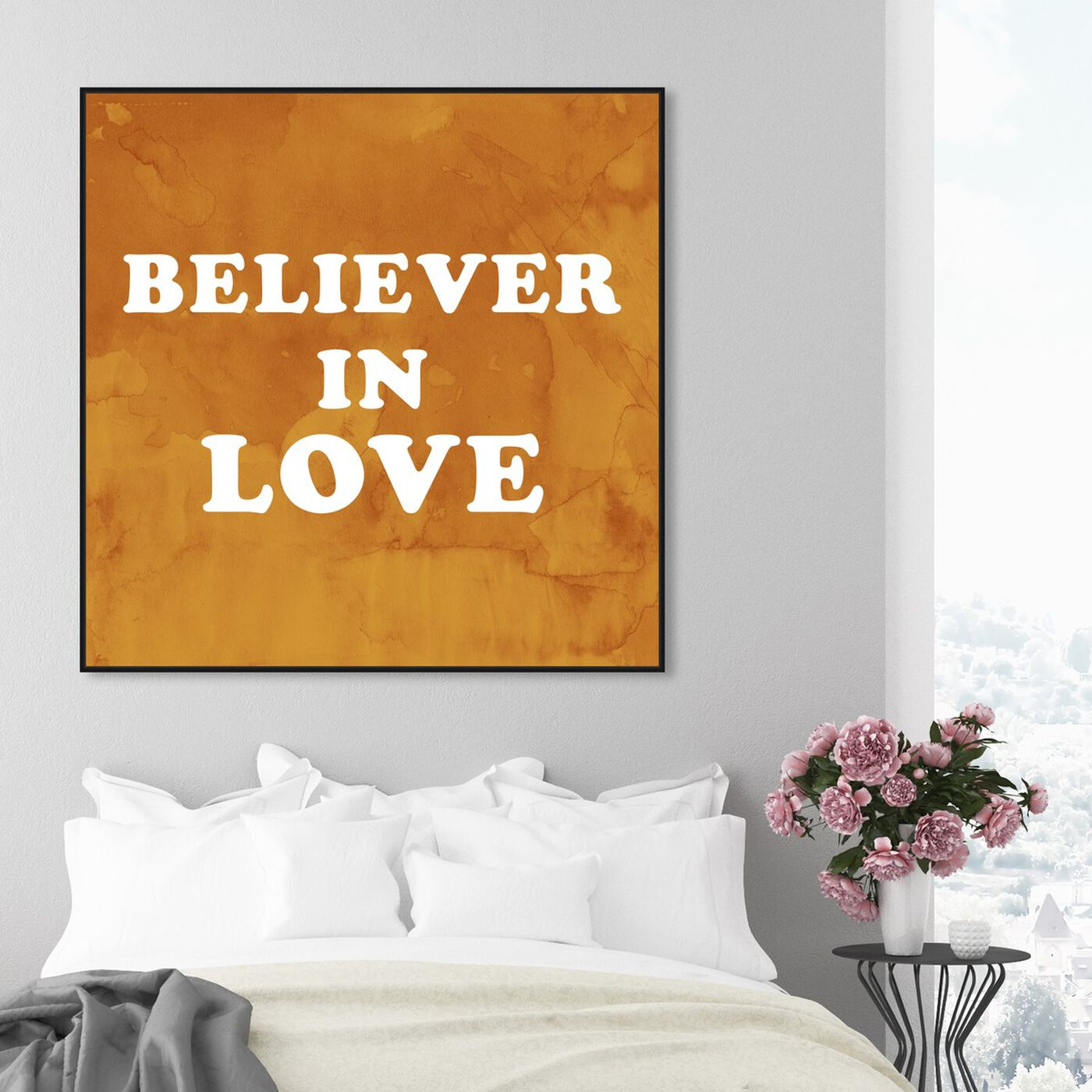 Hanging view of Believer in Love featuring typography and quotes and love quotes and sayings art.