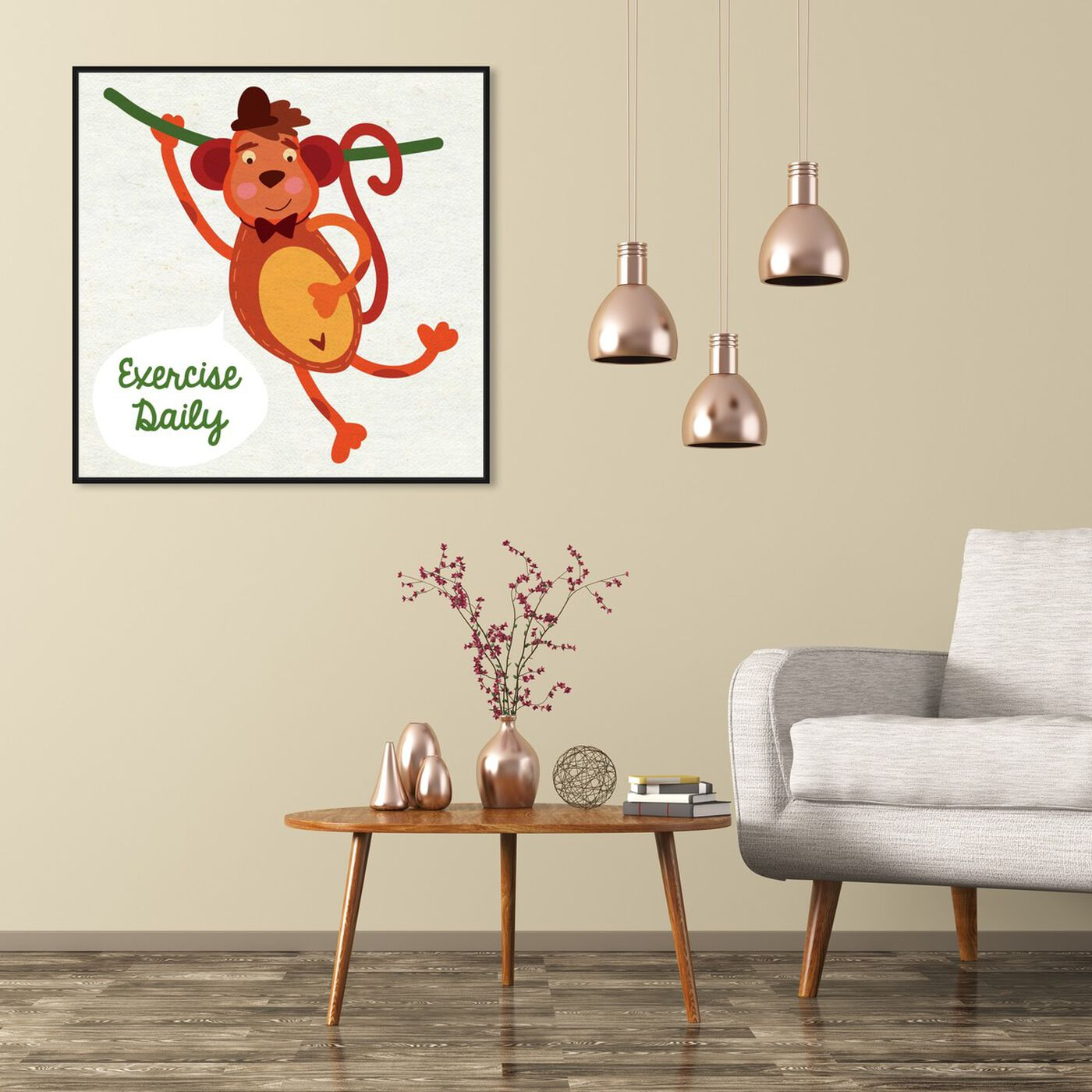 Hanging view of Monkey Exercise featuring typography and quotes and family quotes and sayings art.