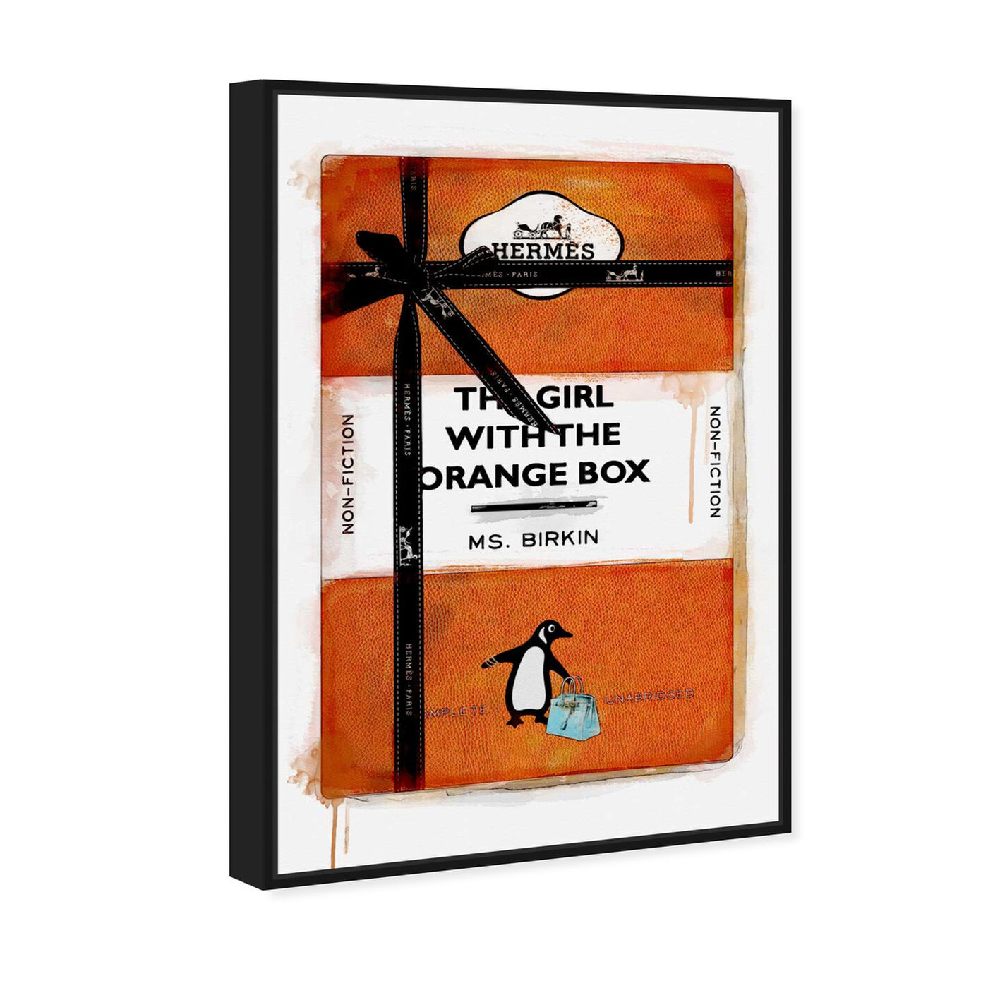 Angled view of The Girl with the Orange Box featuring fashion and glam and books art.