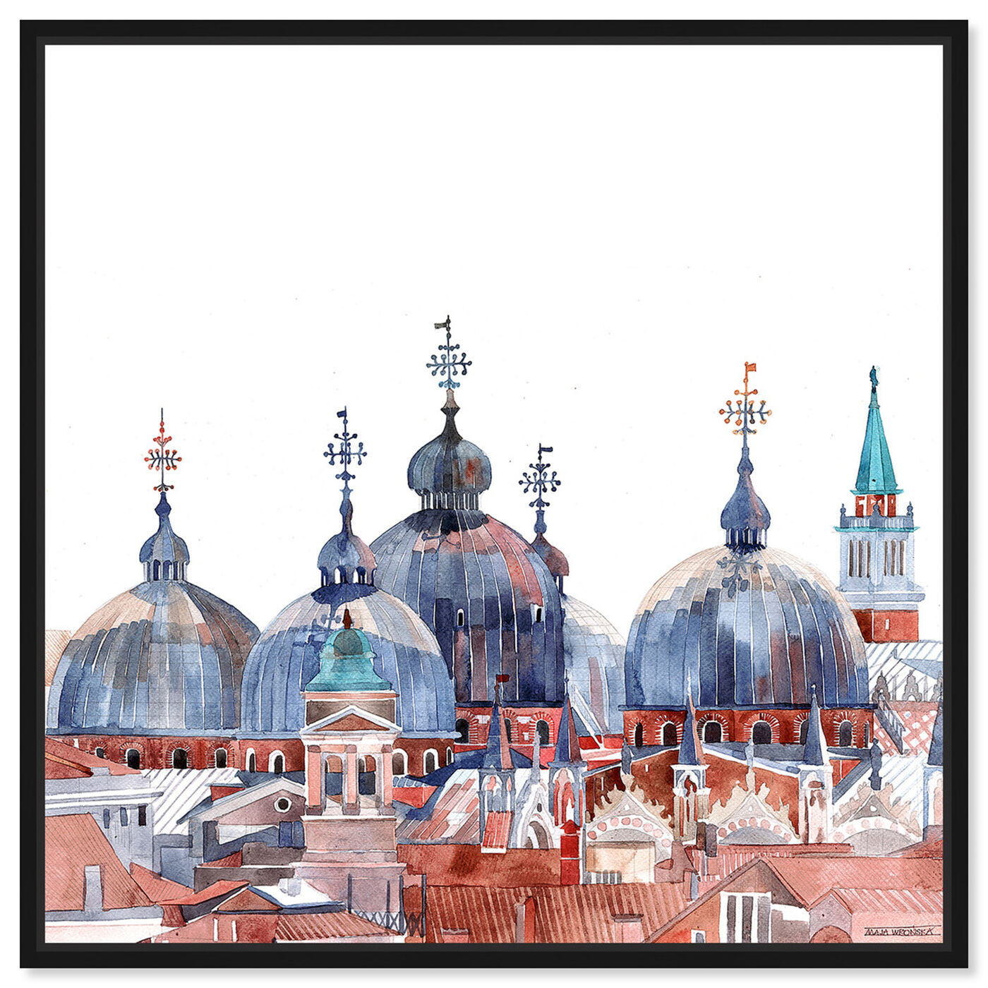 Front view of Maja Wronska - Waterfront Vista Clear III featuring world and countries and asian countries art.