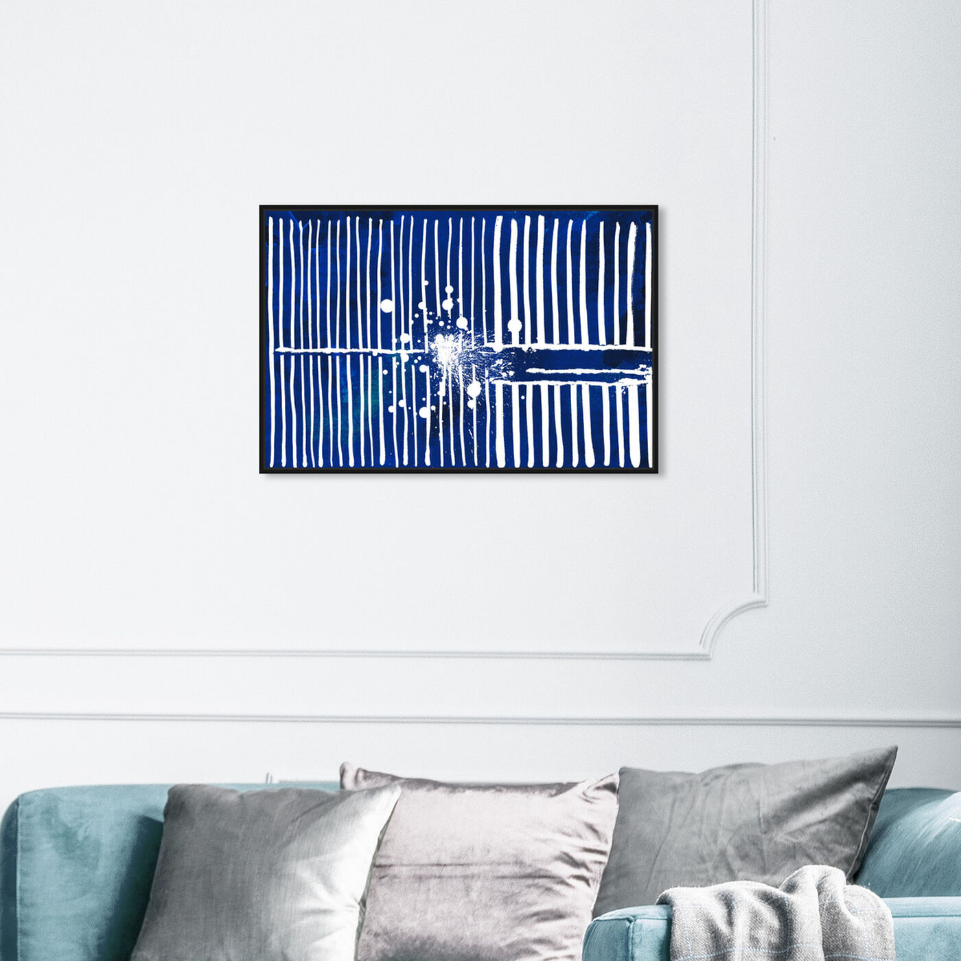 Hanging view of Love Forcefield Navy Velvet featuring abstract and shapes art.