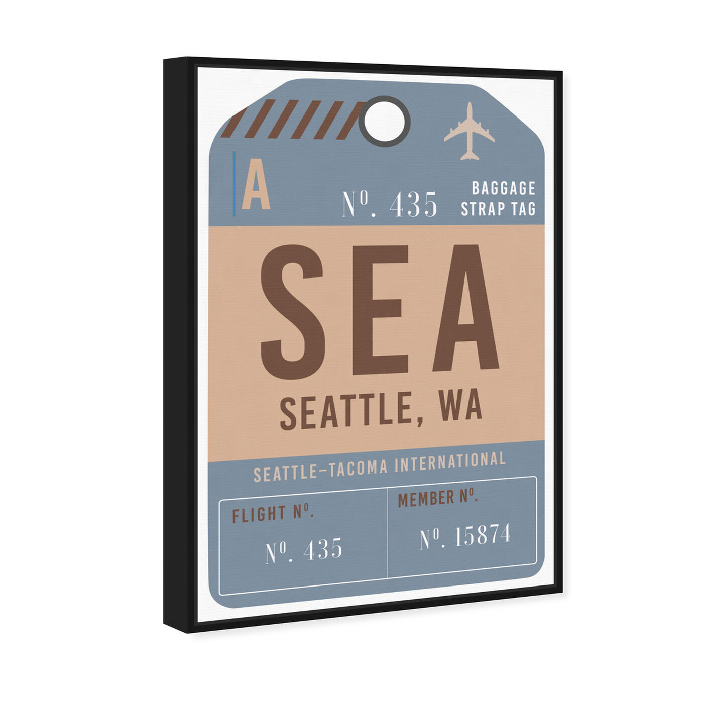 Angled view of Seattle Luggage Tag featuring cities and skylines and united states cities art.