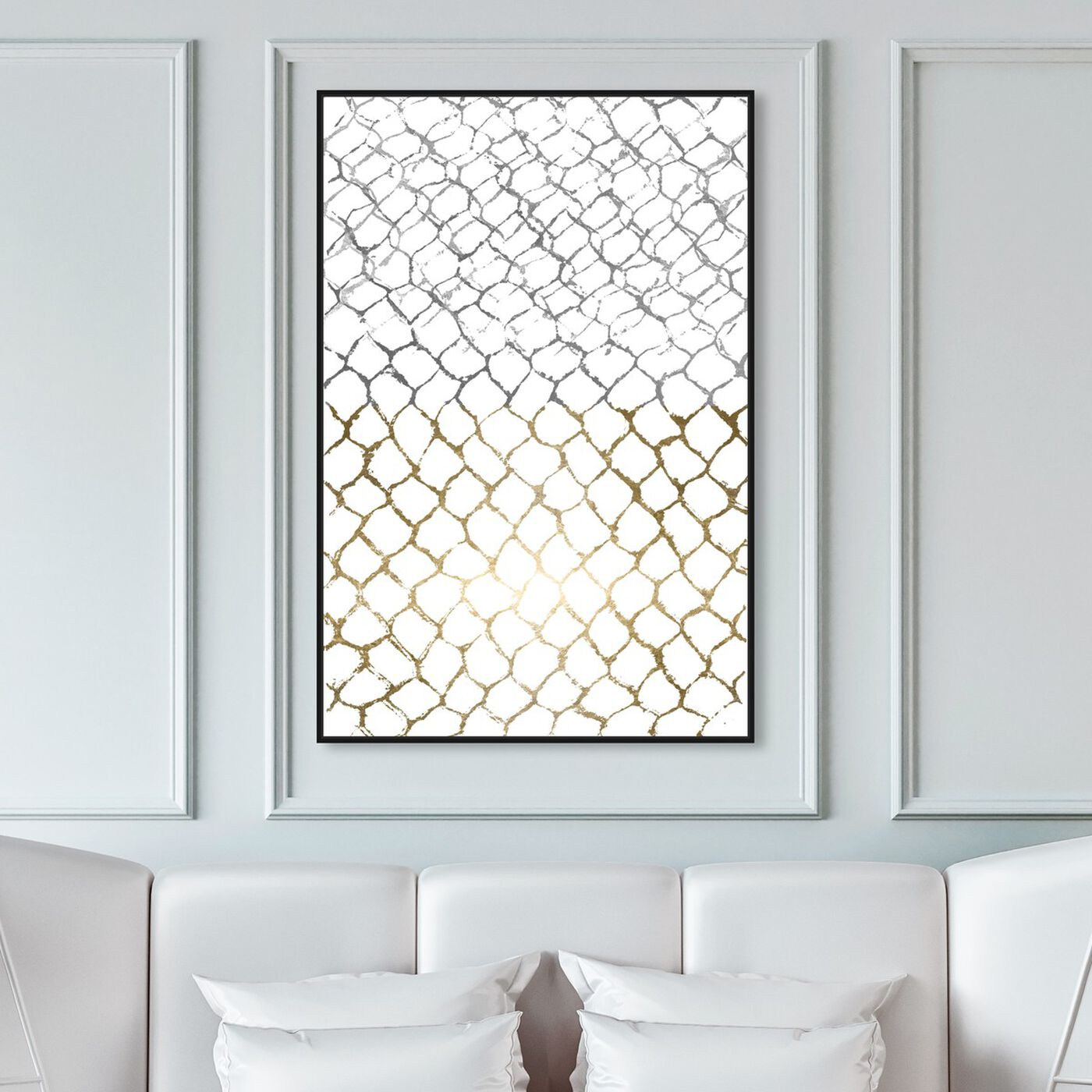 Hanging view of Organic Net featuring abstract and geometric art.