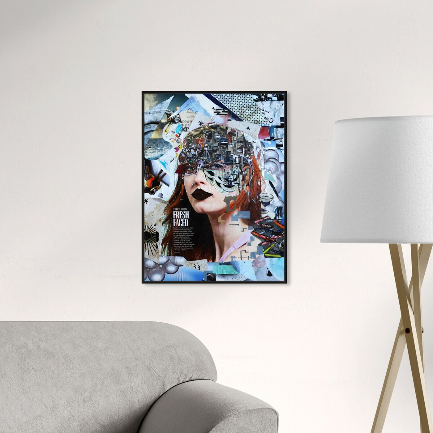 Hanging view of Katy Hirschfeld - Fresh Sky Blues featuring fashion and glam and portraits art.