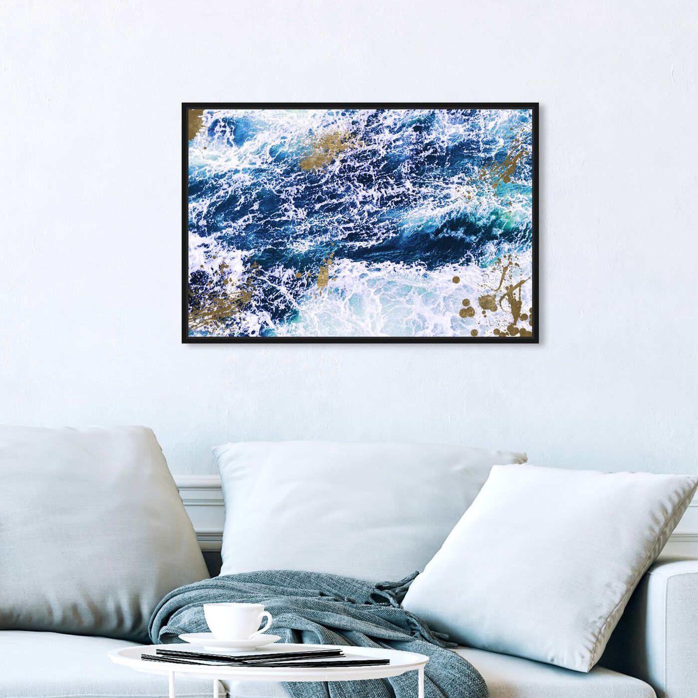 Hanging view of Seas of Gold featuring nautical and coastal and coastal art.