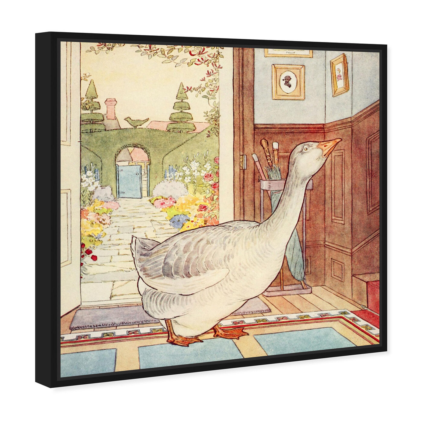 Angled view of Goosey Goosey featuring animals and birds art.