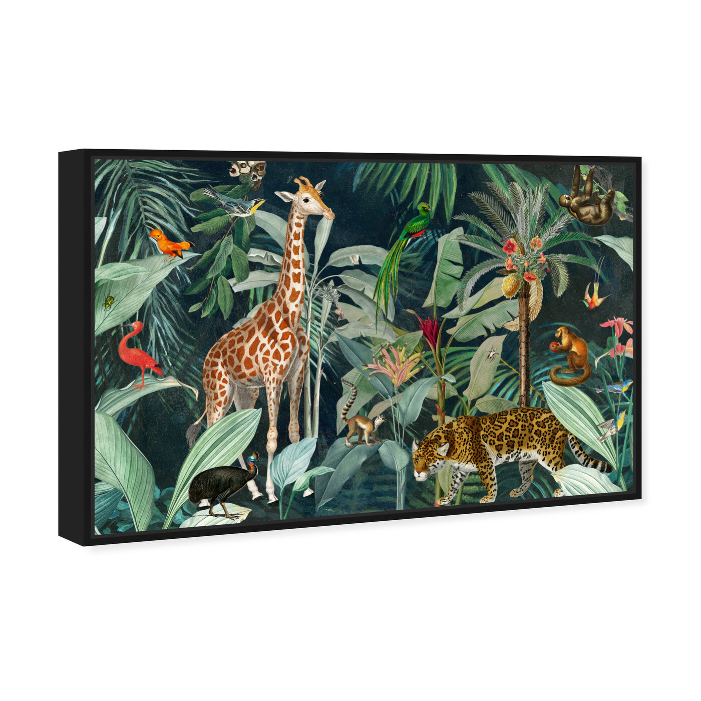 Angled view of Jungle Reves featuring animals and zoo and wild animals art.