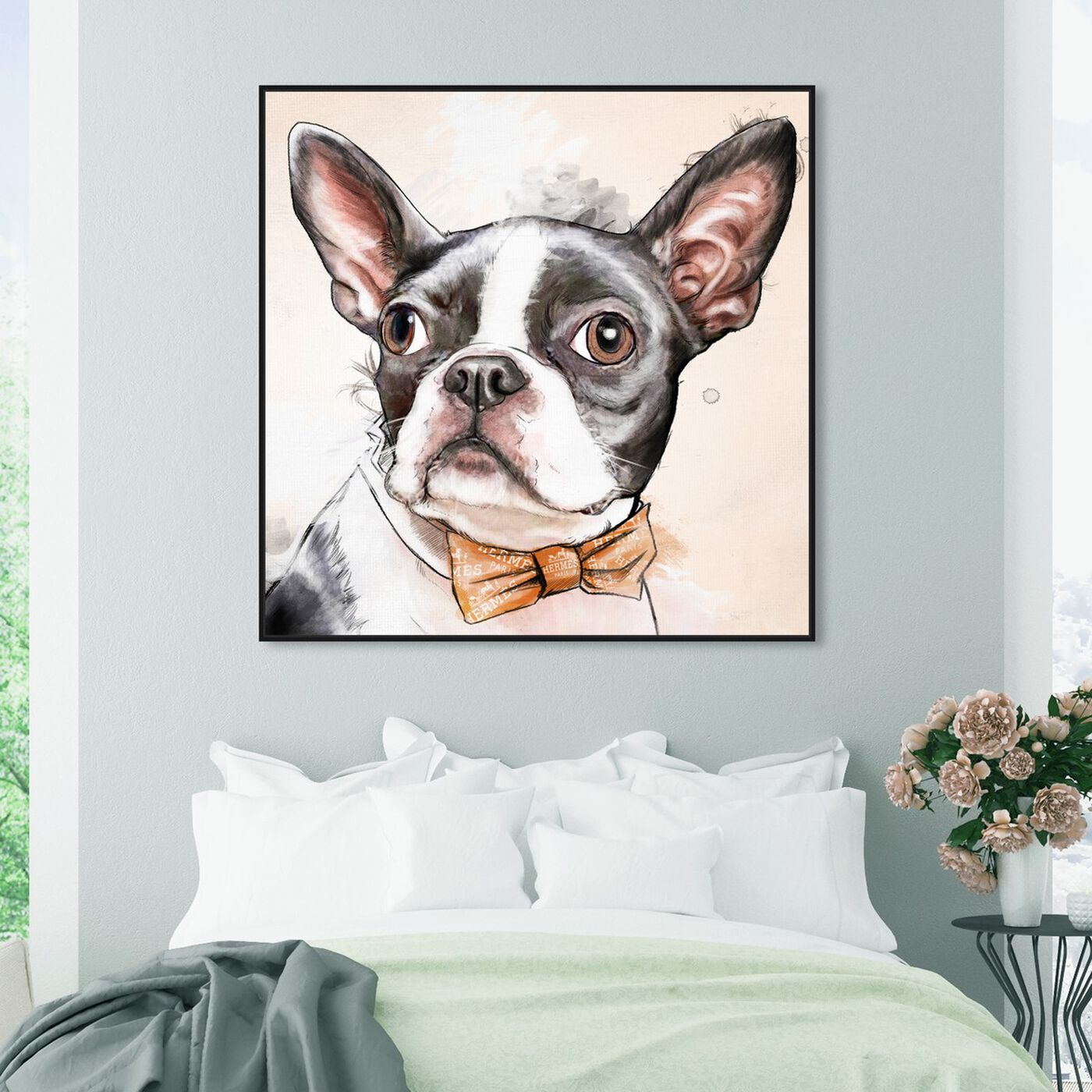 Hanging view of Boston Terrier Watercolor featuring animals and dogs and puppies art.
