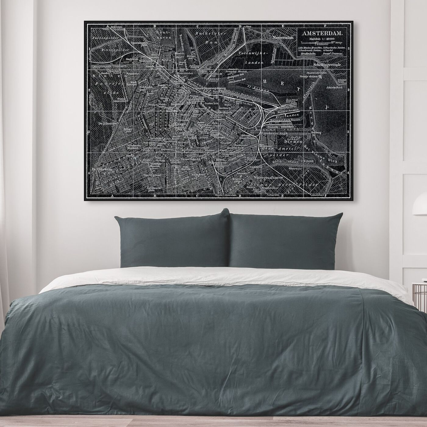 Hanging view of Map of Amsterdam in 1905 featuring maps and flags and european cities maps art.