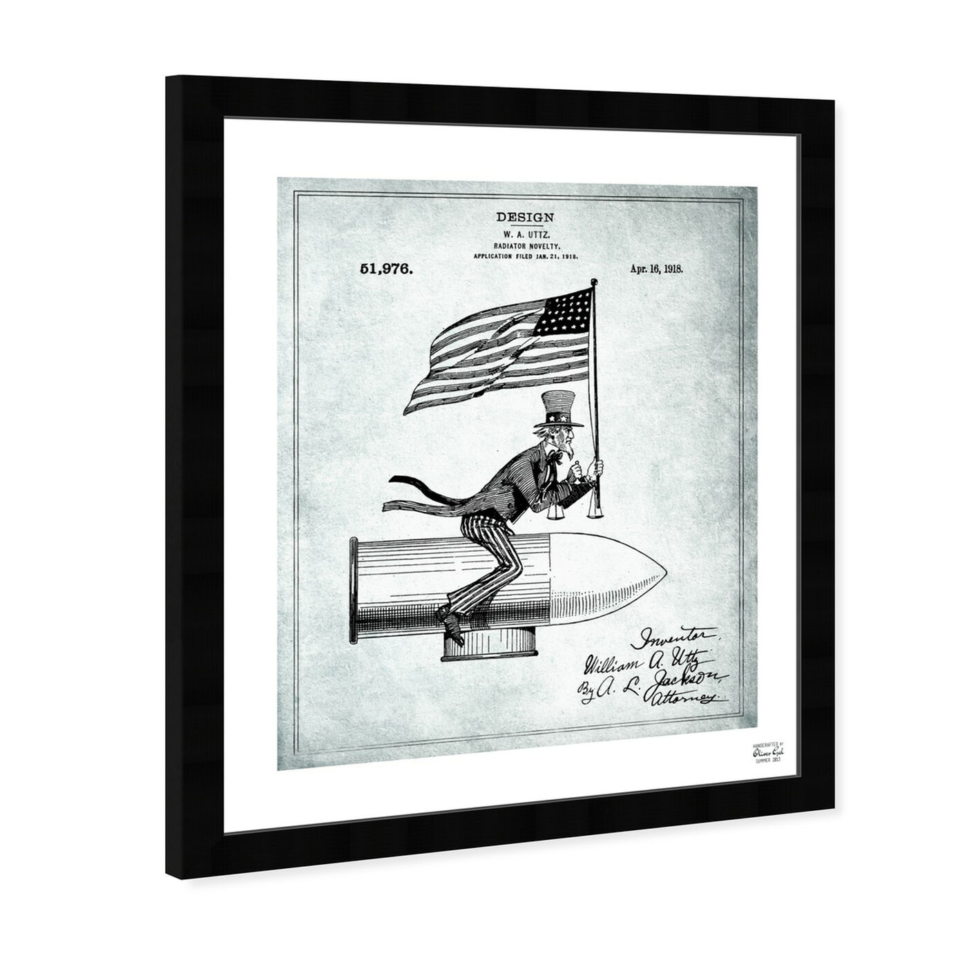 Angled view of Uncle Sam Radiator Novelty 1918 featuring americana and patriotic and us flags art.
