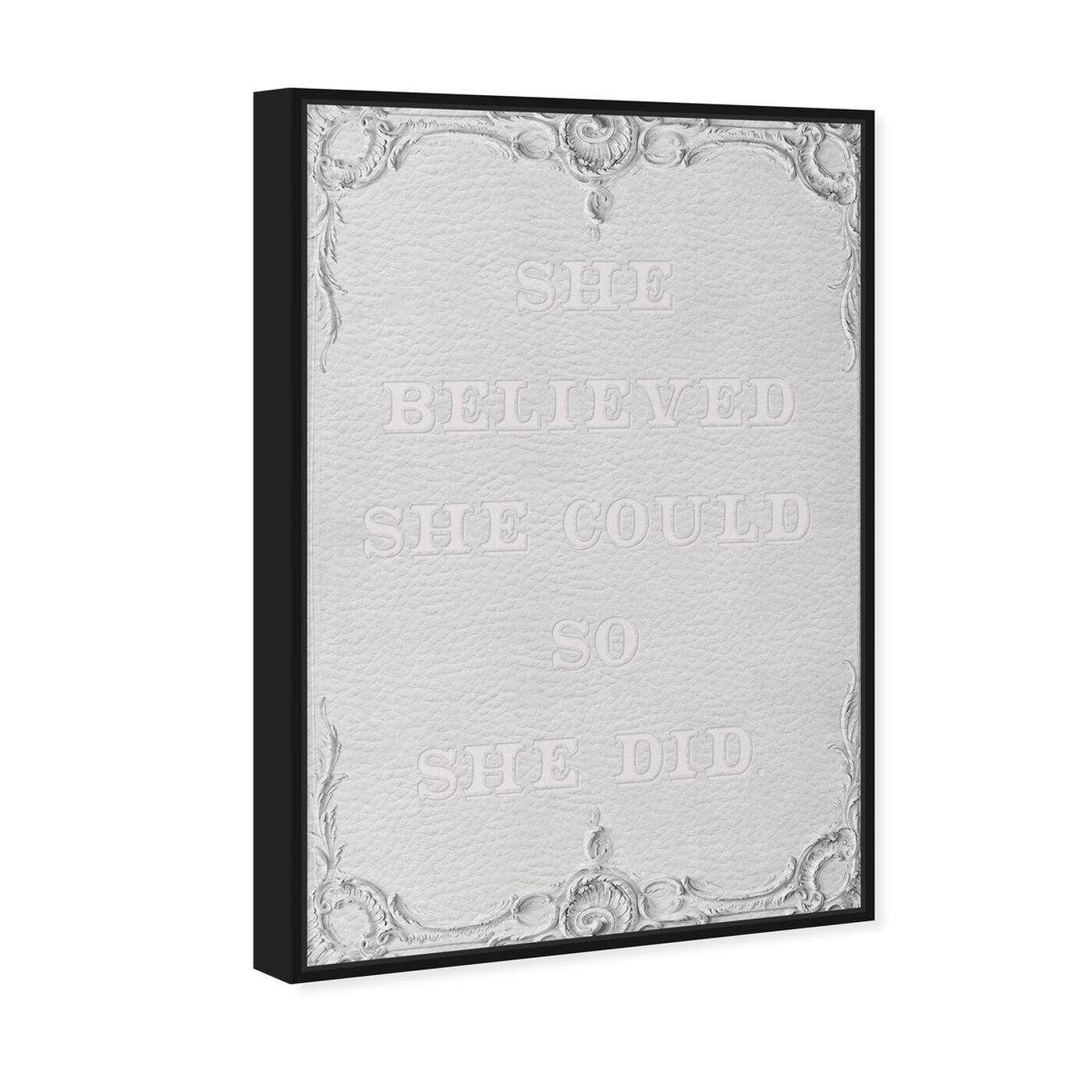 Angled view of She Did White Leather featuring typography and quotes and empowered women quotes and sayings art.