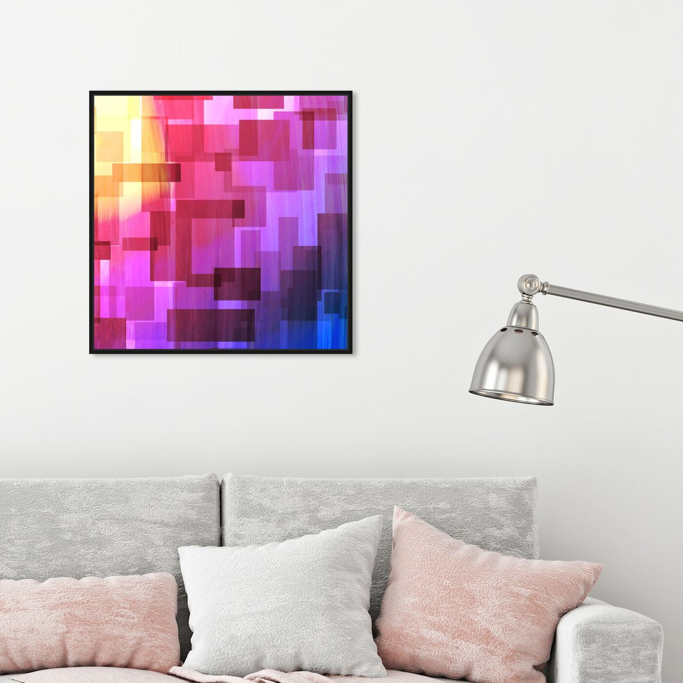 Hanging view of Think Outside The Box featuring abstract and geometric art.