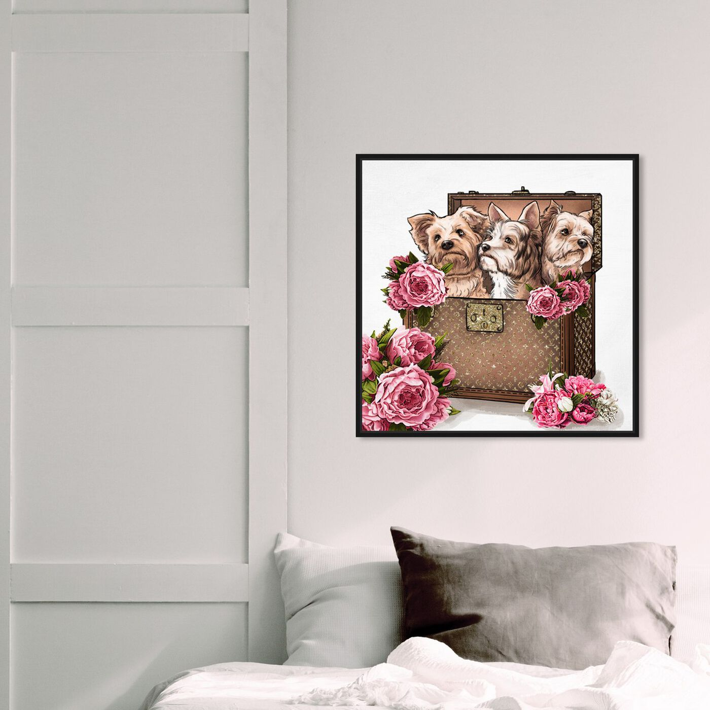 Hanging view of Treasured Yorkies featuring fashion and glam and travel essentials art.