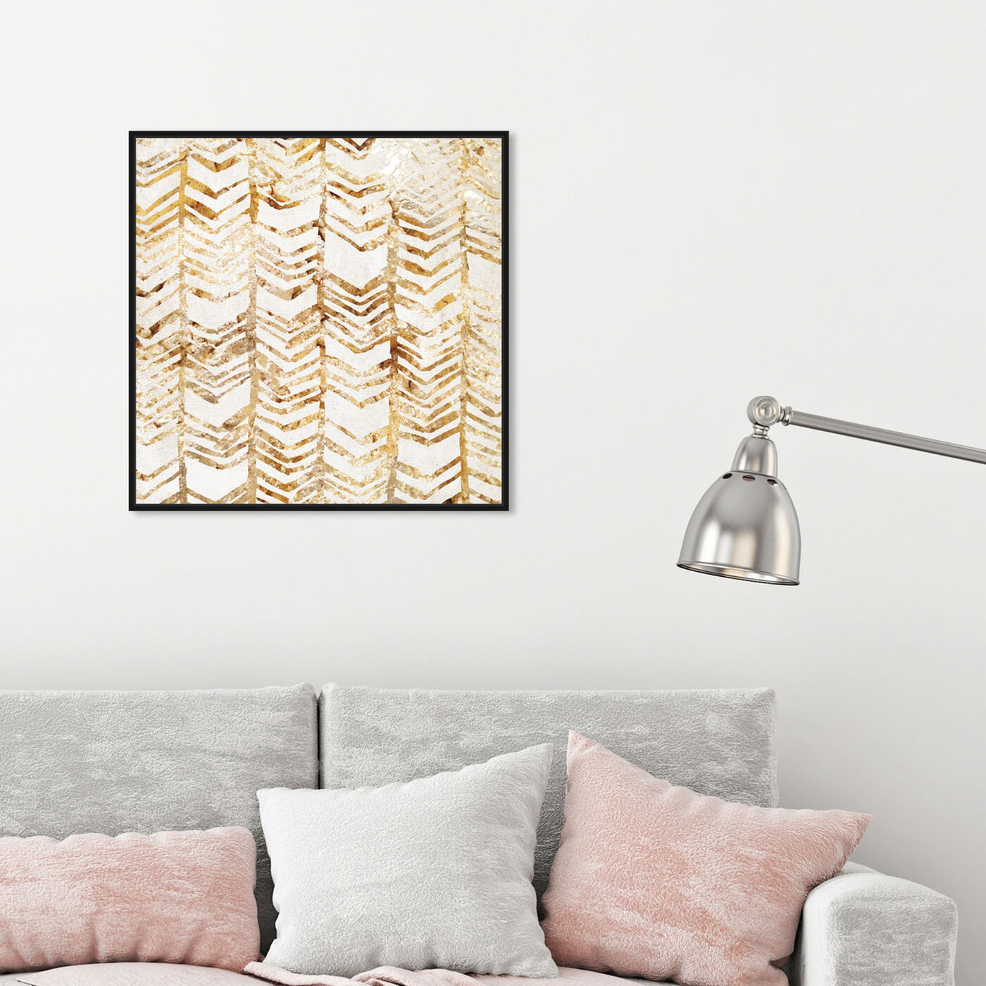 Hanging view of Season Chevron featuring abstract and shapes art.