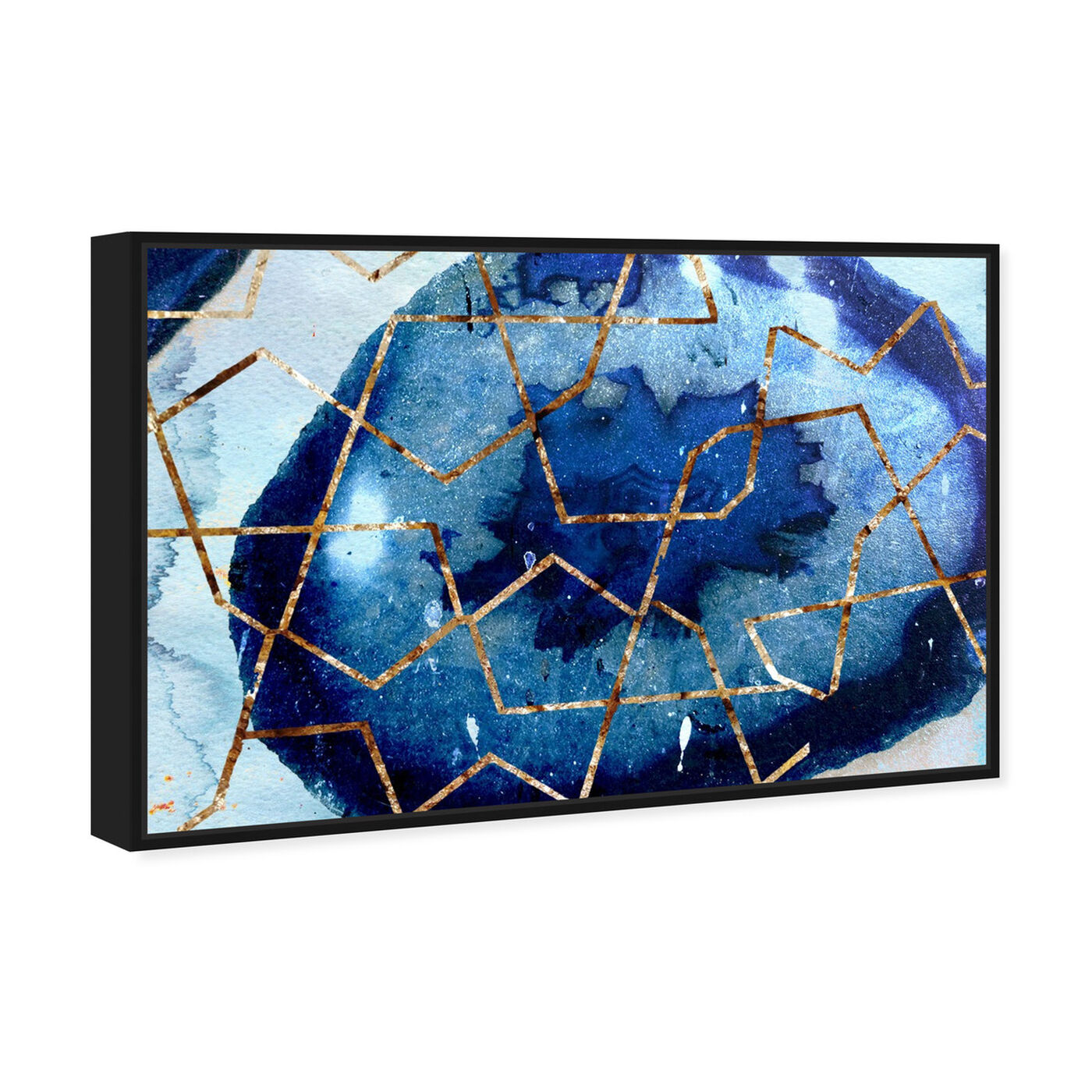 Angled view of Raw Earth Blue featuring abstract and paint art.