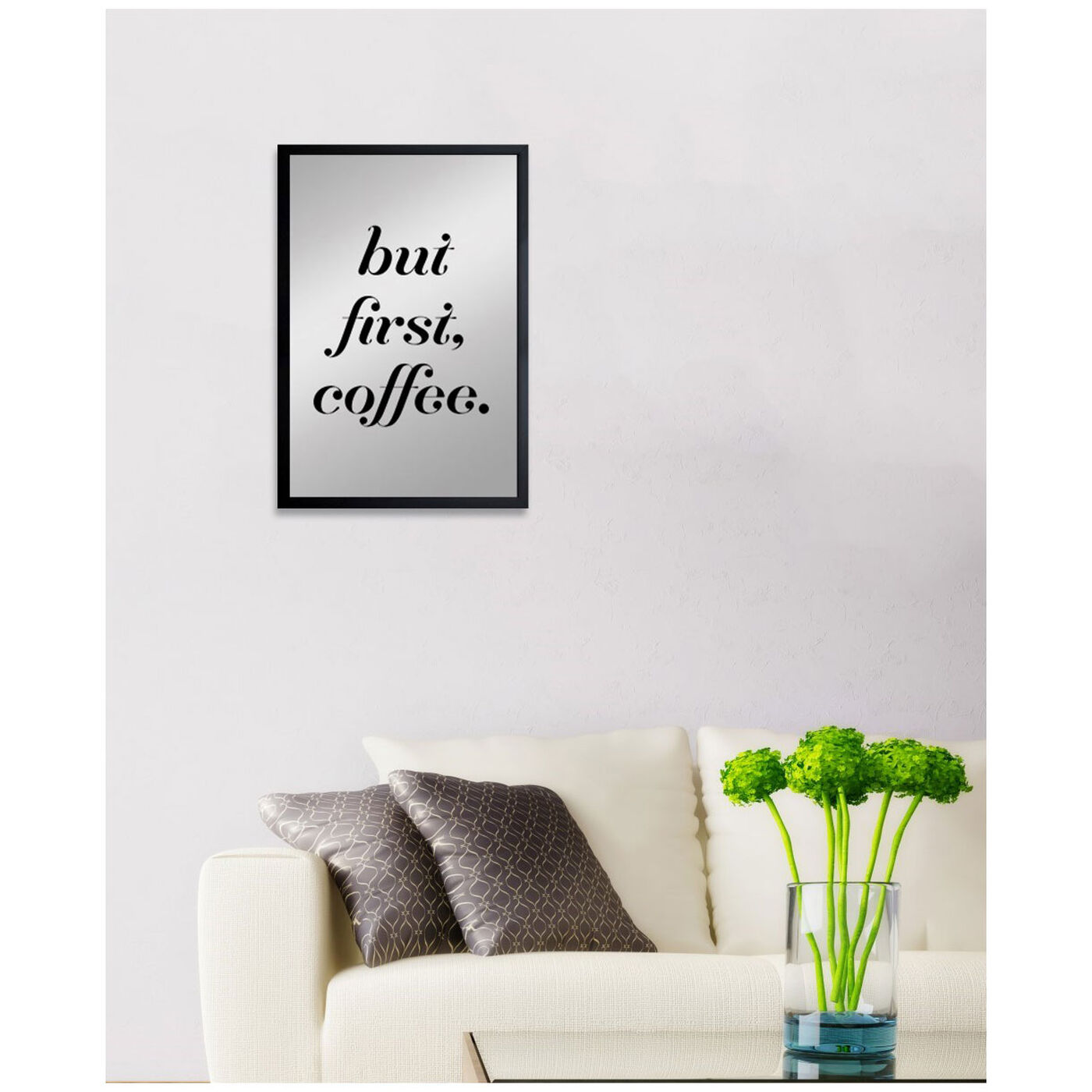 Hanging view of Coffee First II featuring typography and quotes and funny quotes and sayings art.