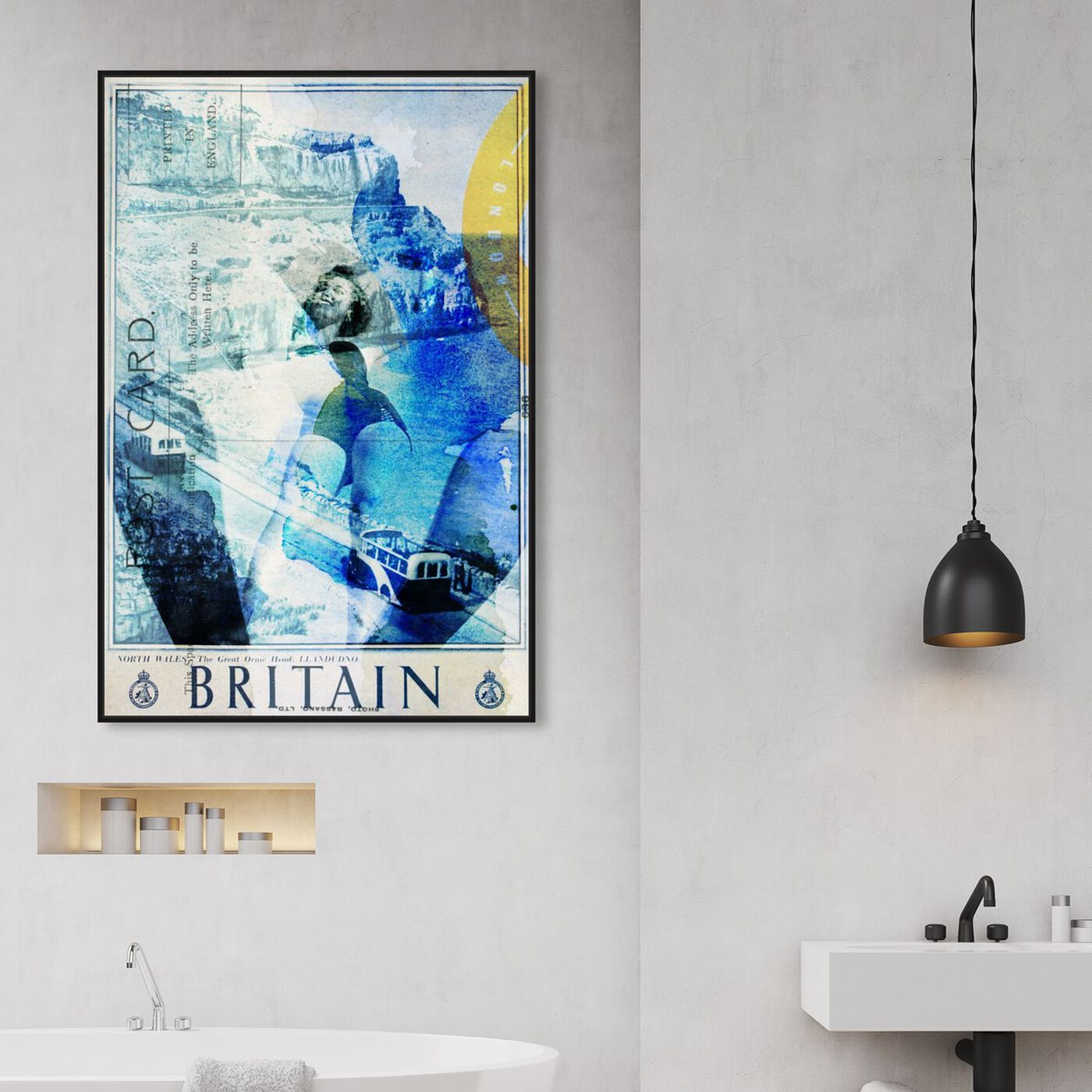 Hanging view of Britain featuring advertising and posters art.