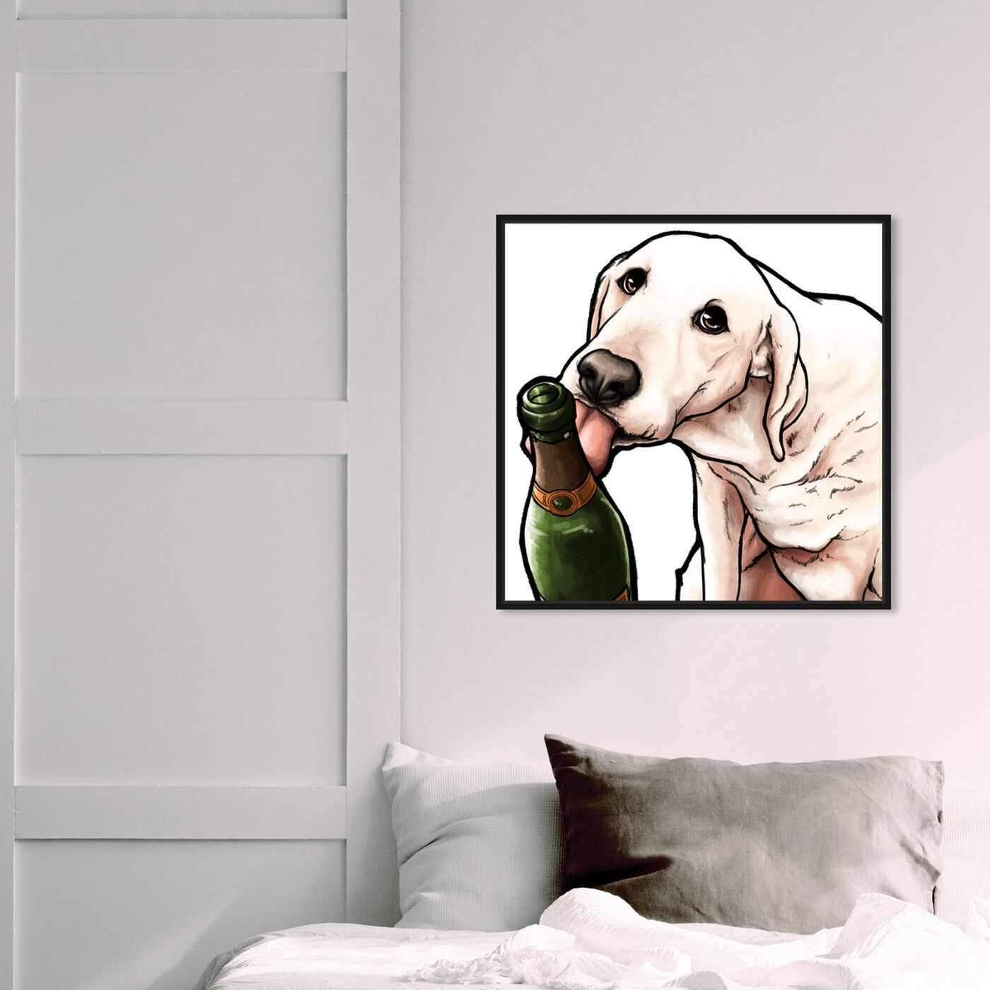 Hanging view of Lab and Bubbly featuring animals and dogs and puppies art.