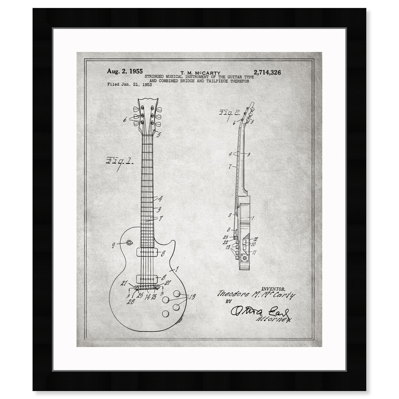 Front view of Gibson Les Paul Guitar, 1955 - Gray featuring music and dance and music instruments art.