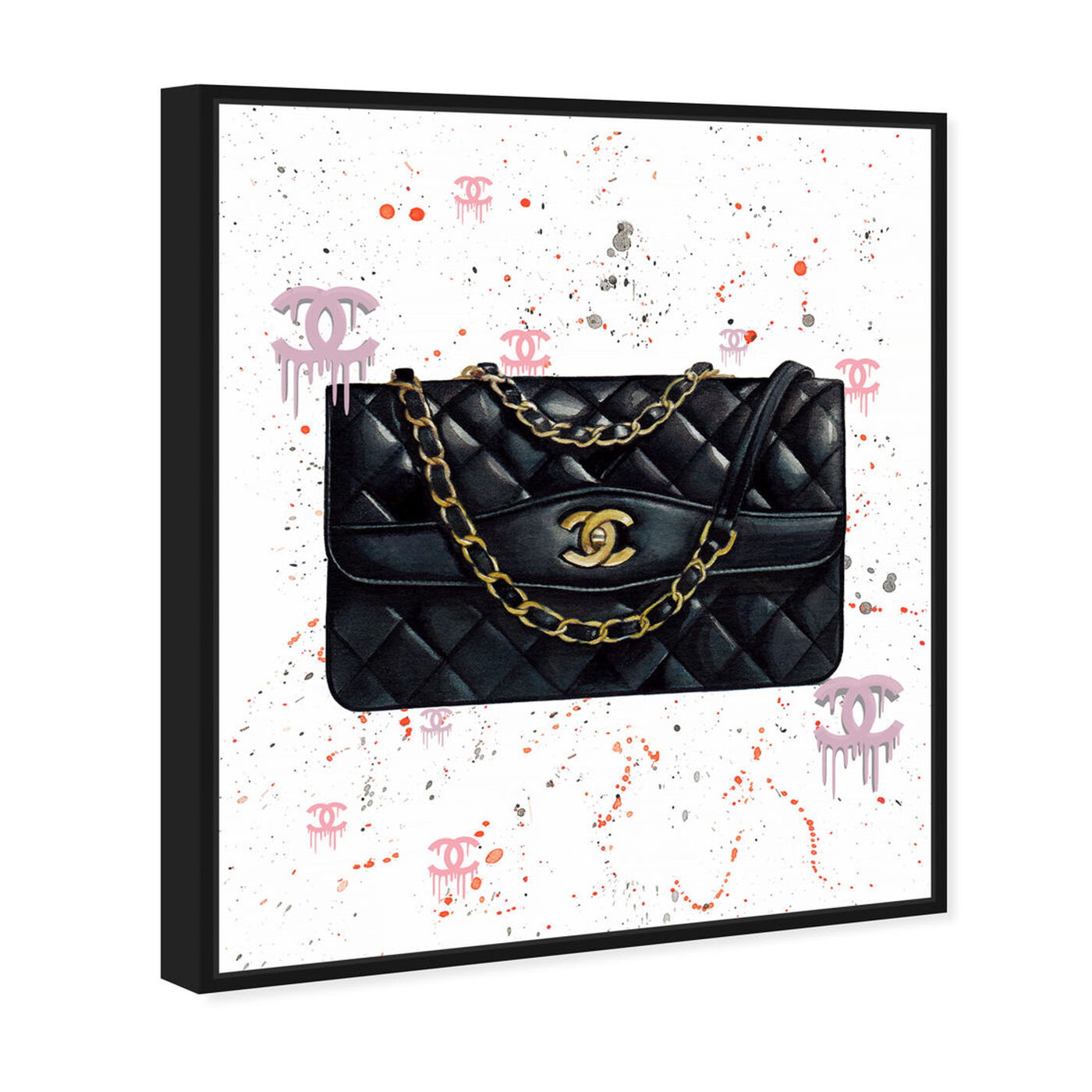 Angled view of Doll Memories - Fashion Graffiti Noir featuring fashion and glam and handbags art.