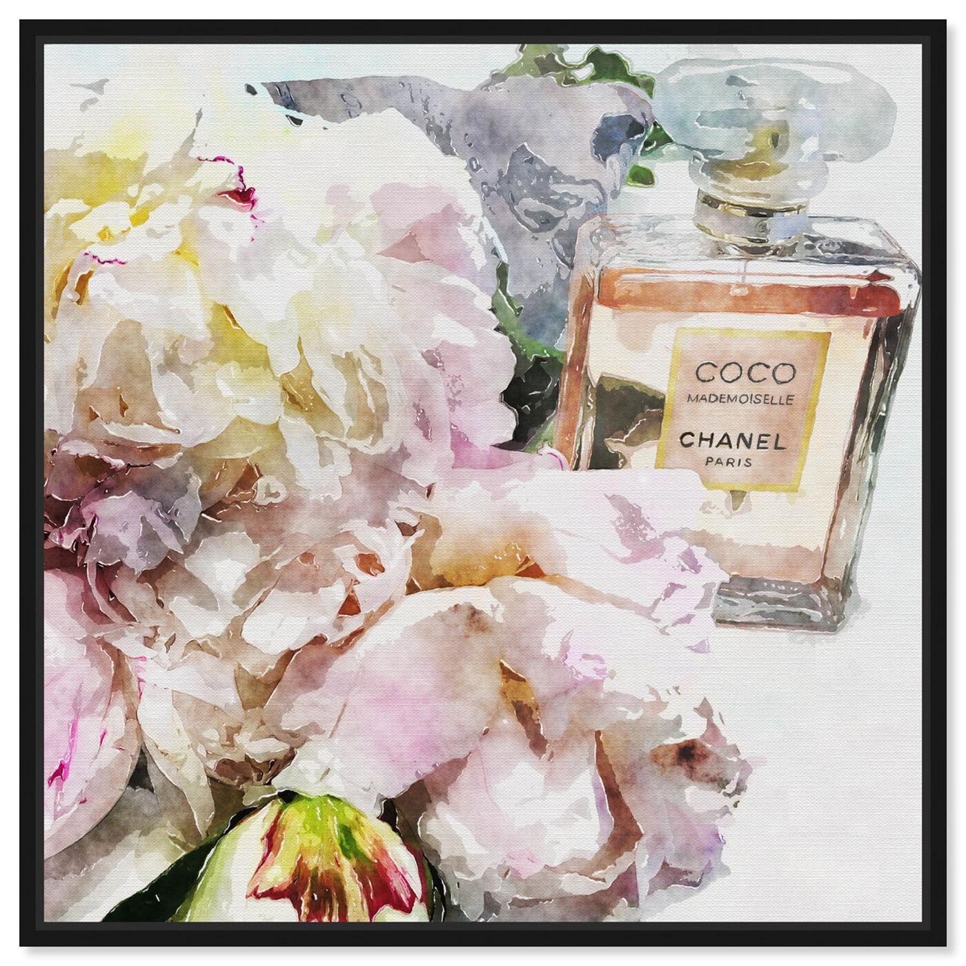Front view of Peonies and Coco Dark featuring floral and botanical and florals art.