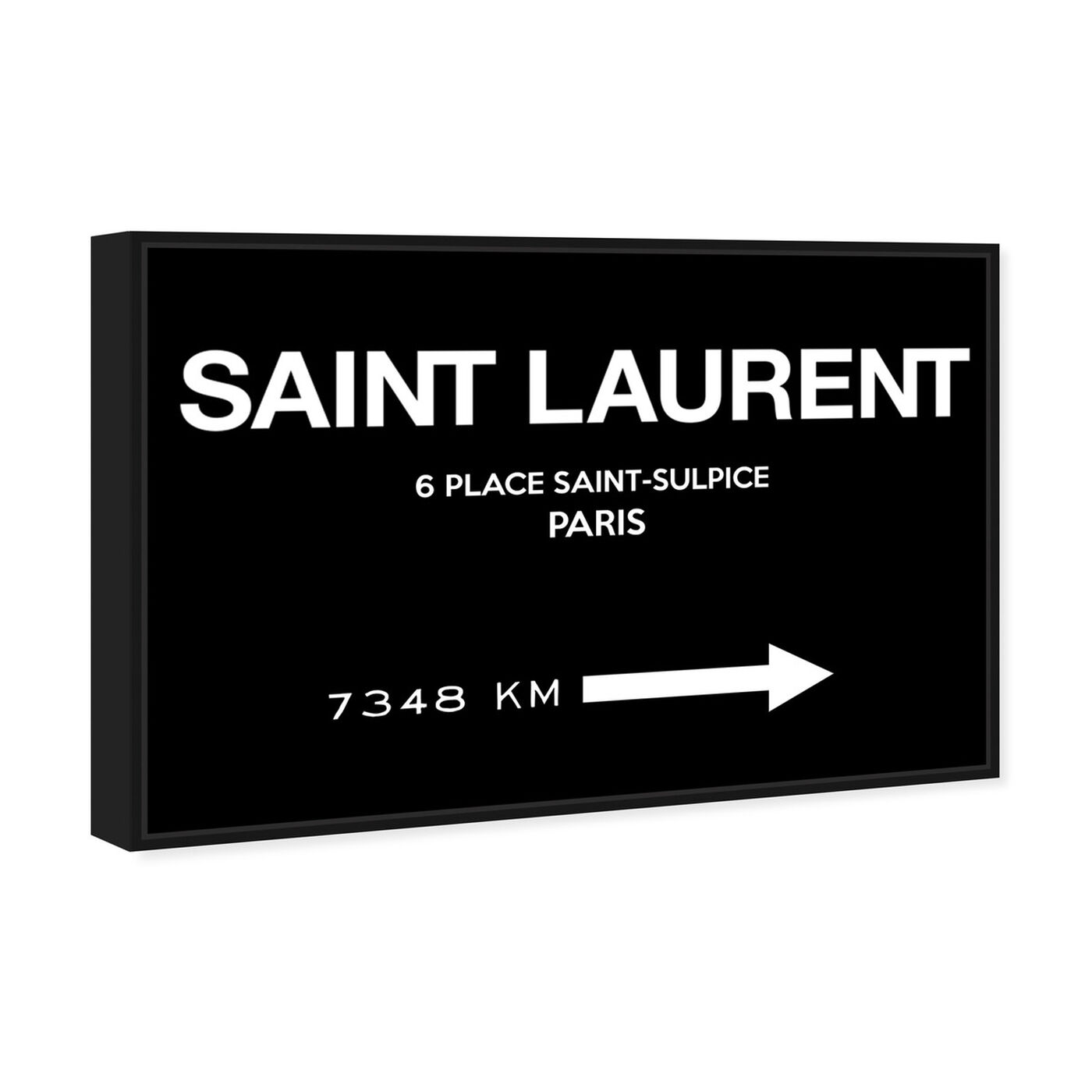 Angled view of Paris Road Sign BW Couture featuring fashion and glam and road signs art.