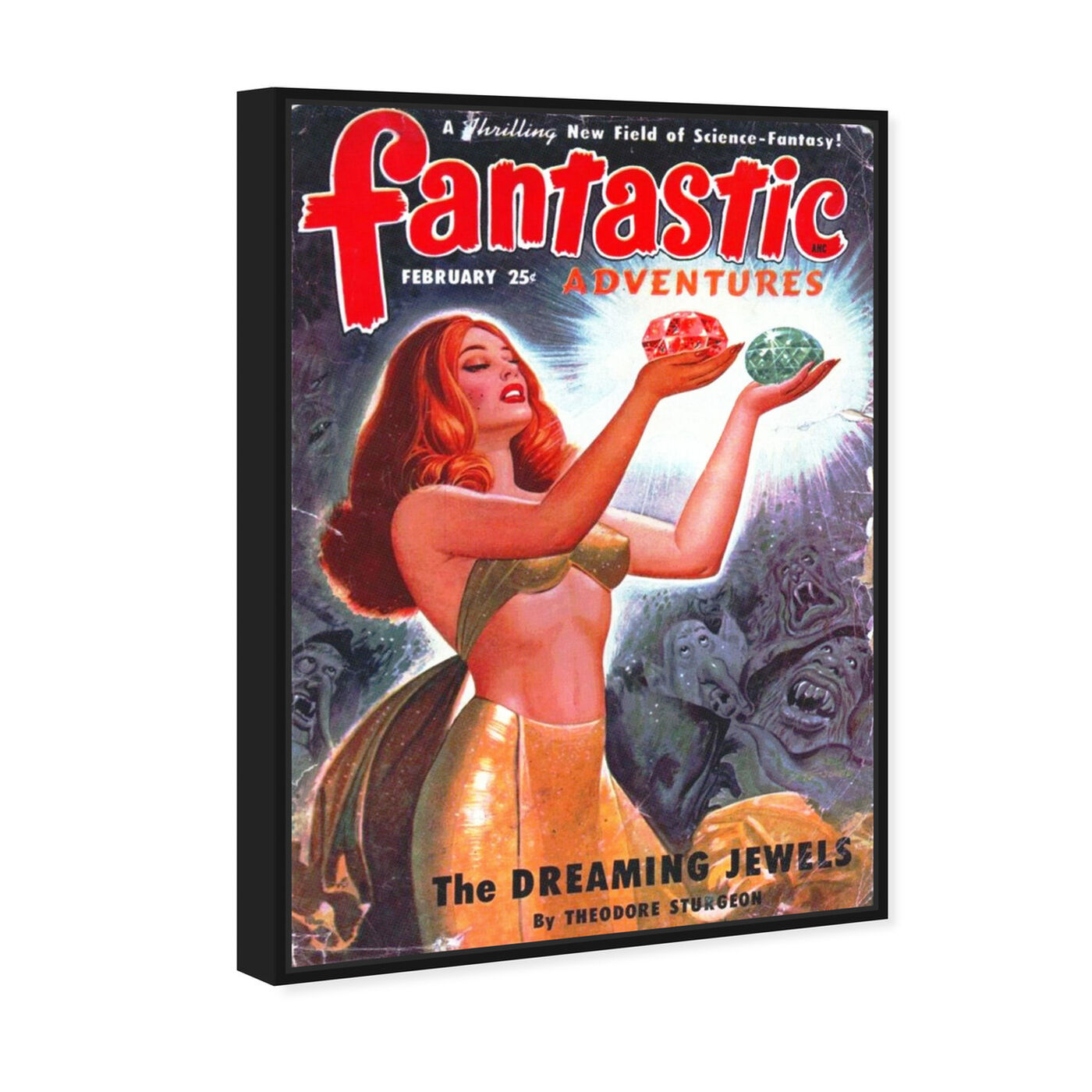 Angled view of Fantastic Adventures featuring advertising and posters art.