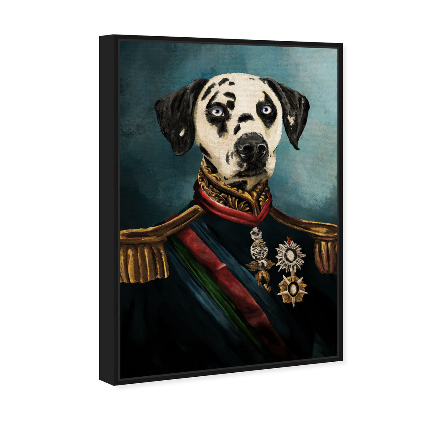 Angled view of Dalmation Duke featuring animals and dogs and puppies art.