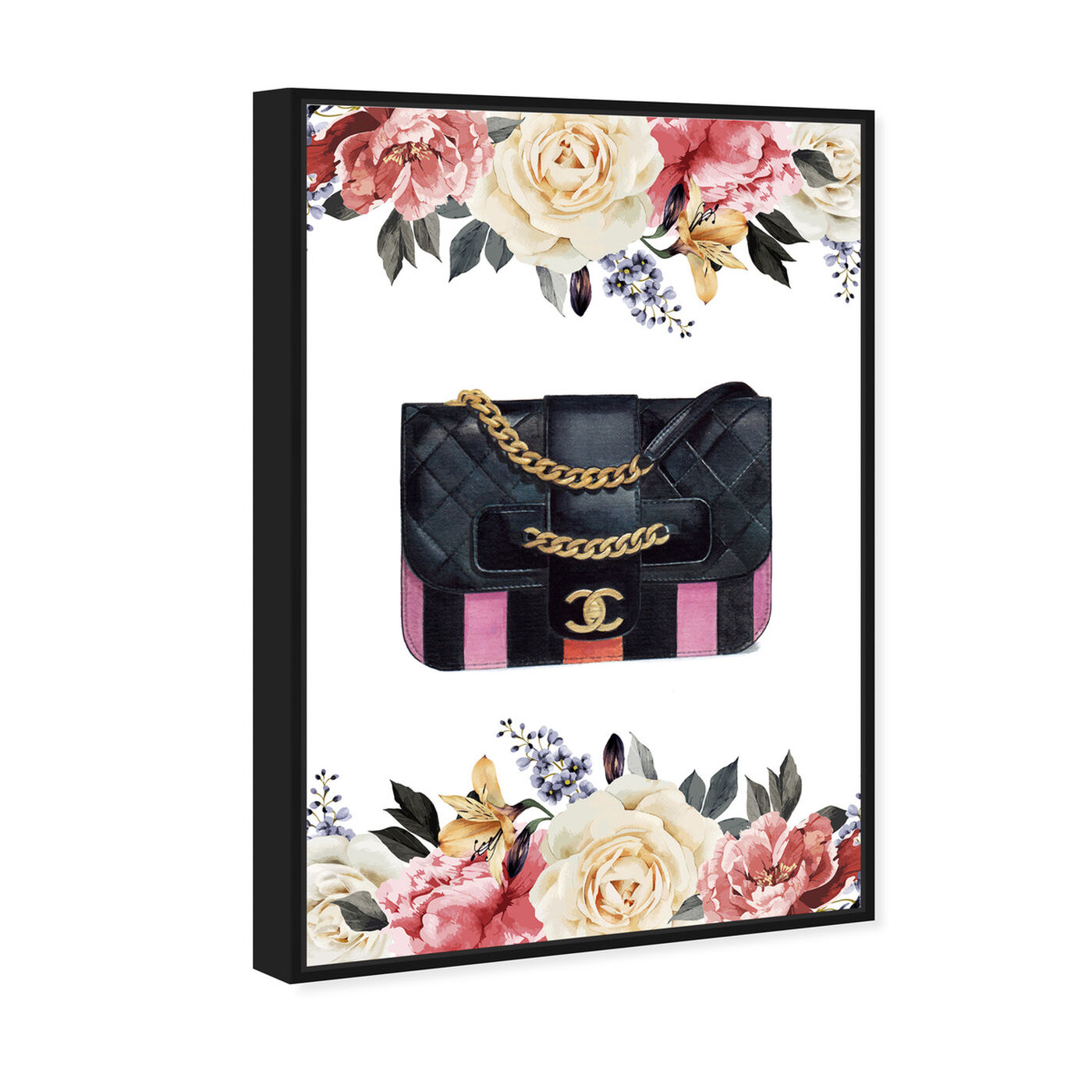 Angled view of Doll Memories - Flower Party Bag featuring fashion and glam and handbags art.