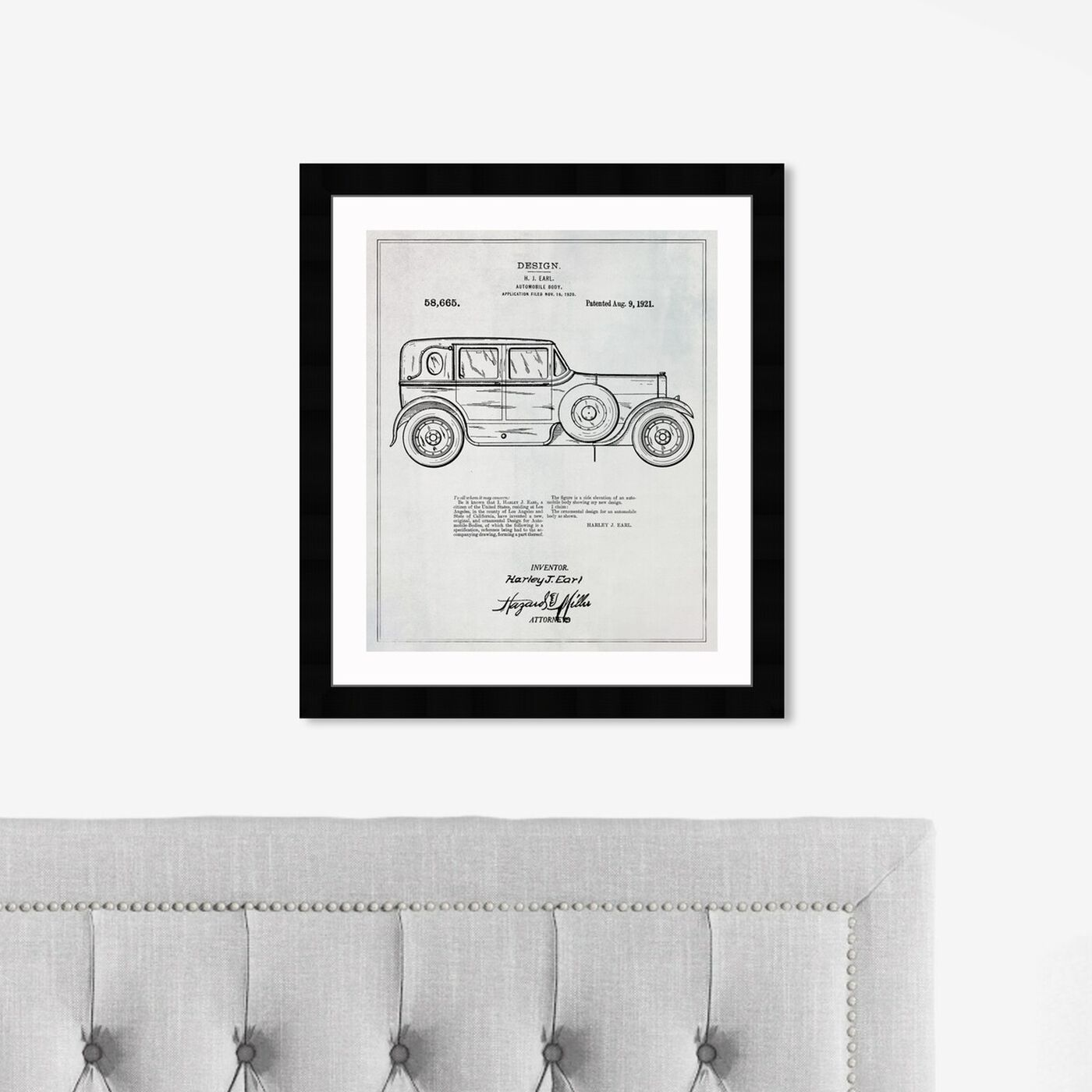 Hanging view of Harley Automobile Body 1921 featuring transportation and automobiles art.