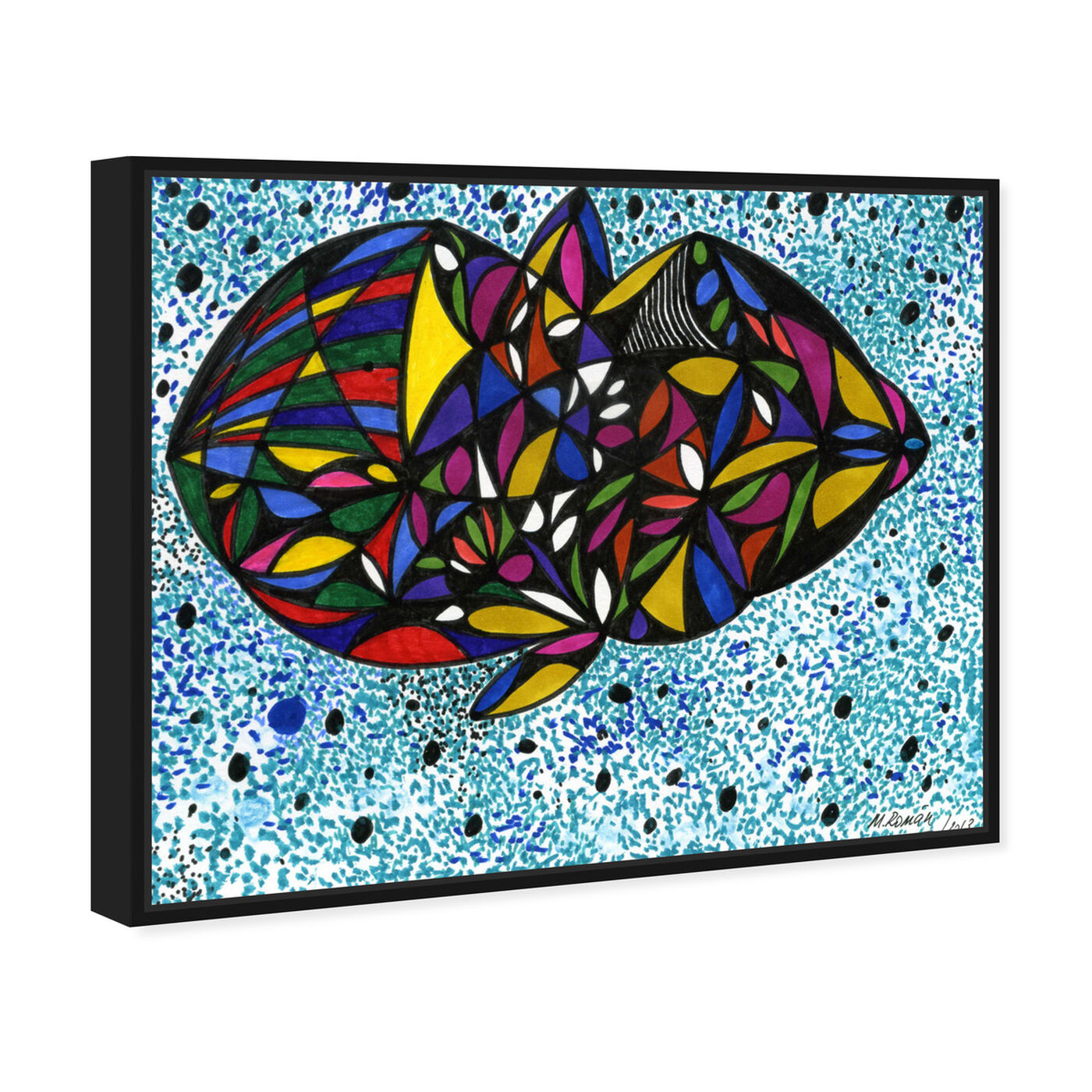 Angled view of Cuttlefish featuring abstract and geometric art.