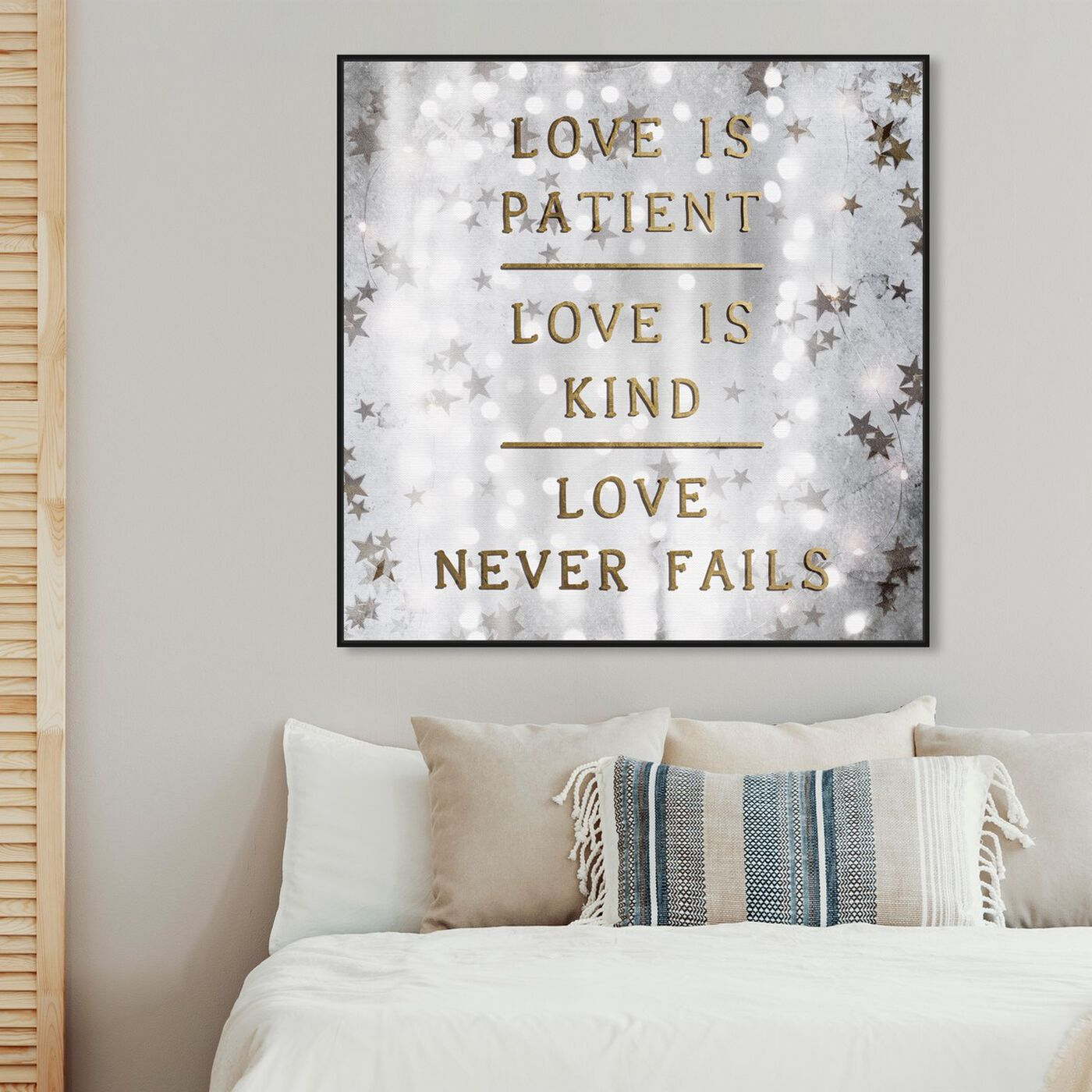 Hanging view of Love is Patient Love is Kind featuring typography and quotes and love quotes and sayings art.