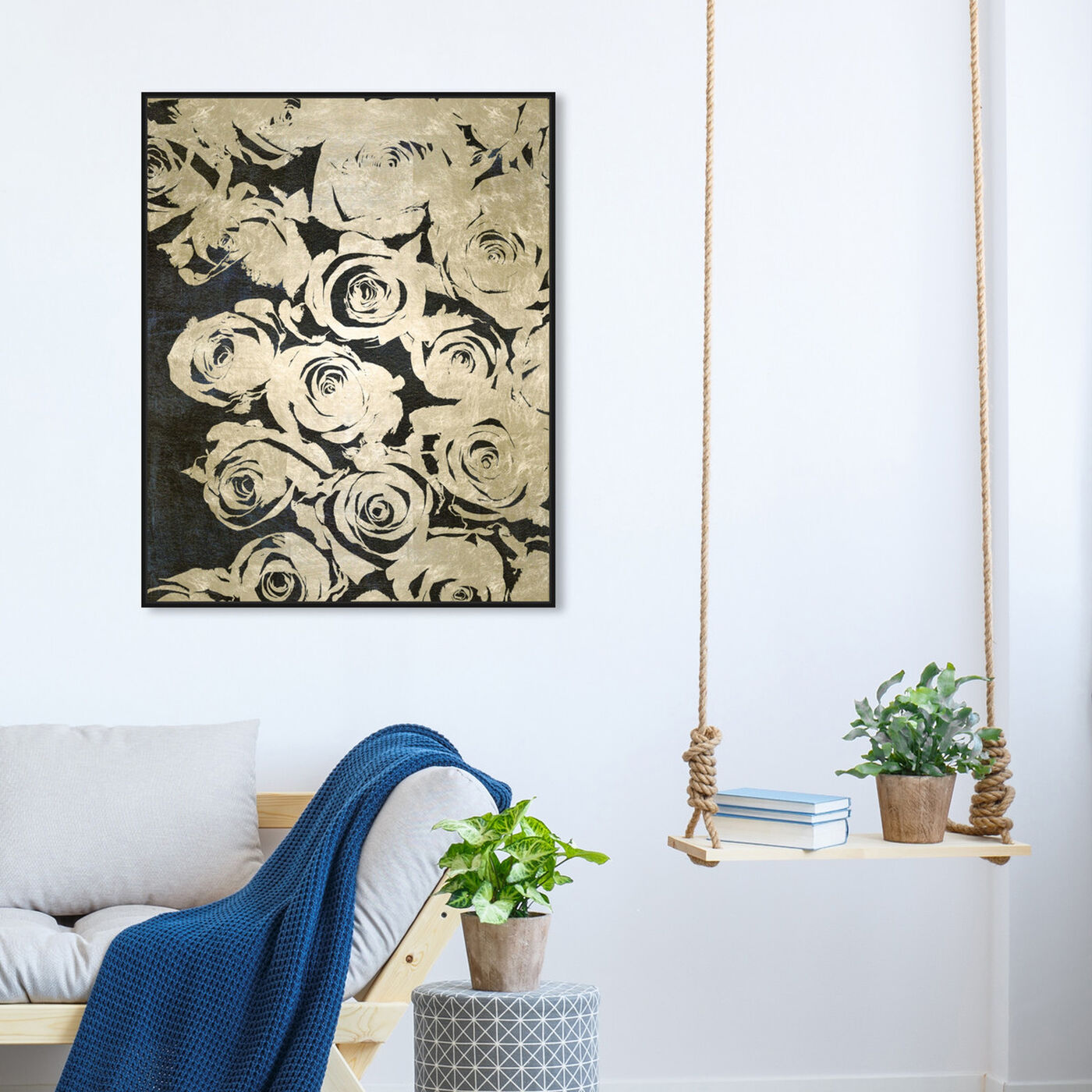 Hanging view of Dark Rose I featuring floral and botanical and florals art.