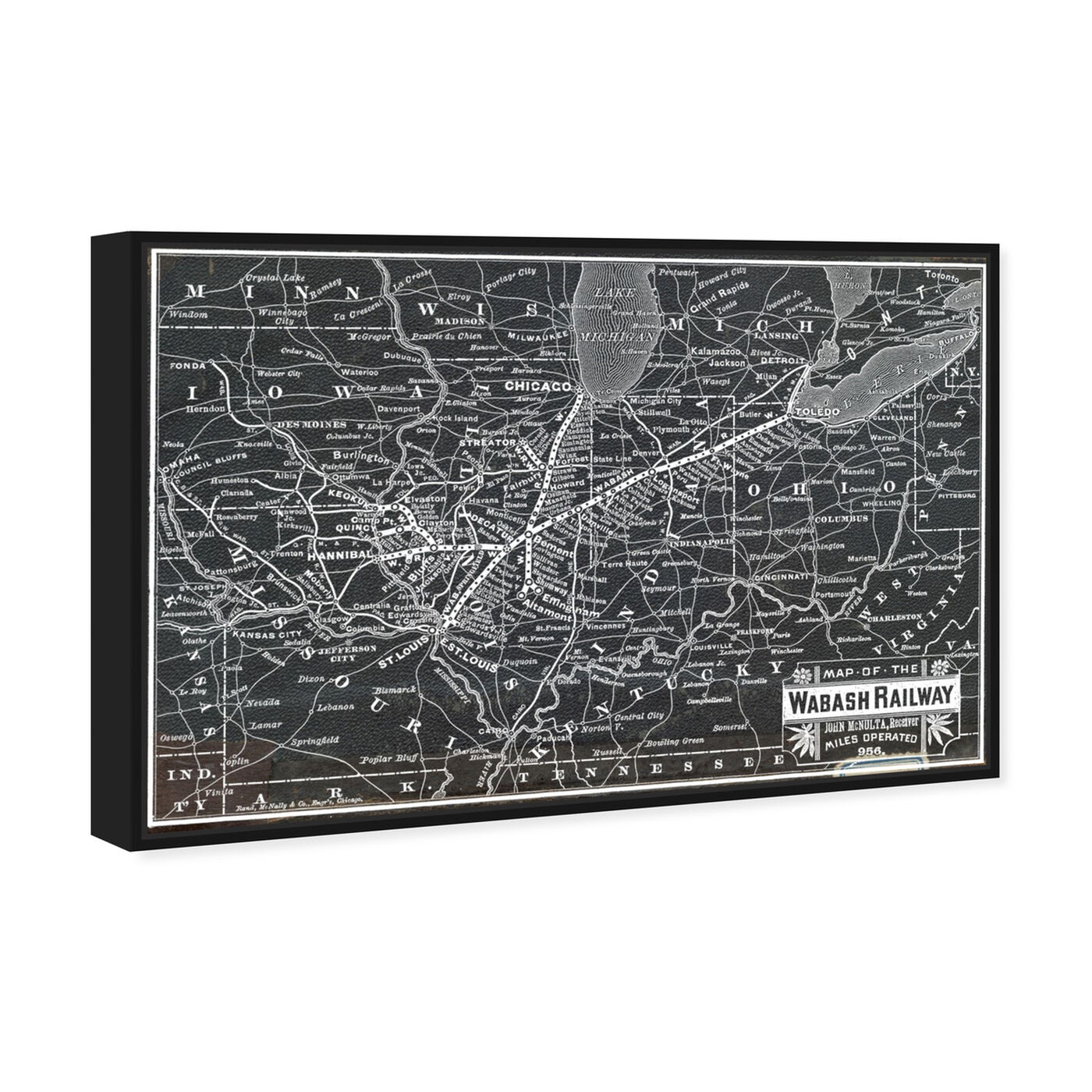 Angled view of Wabash Railroad Map featuring maps and flags and us states maps art.