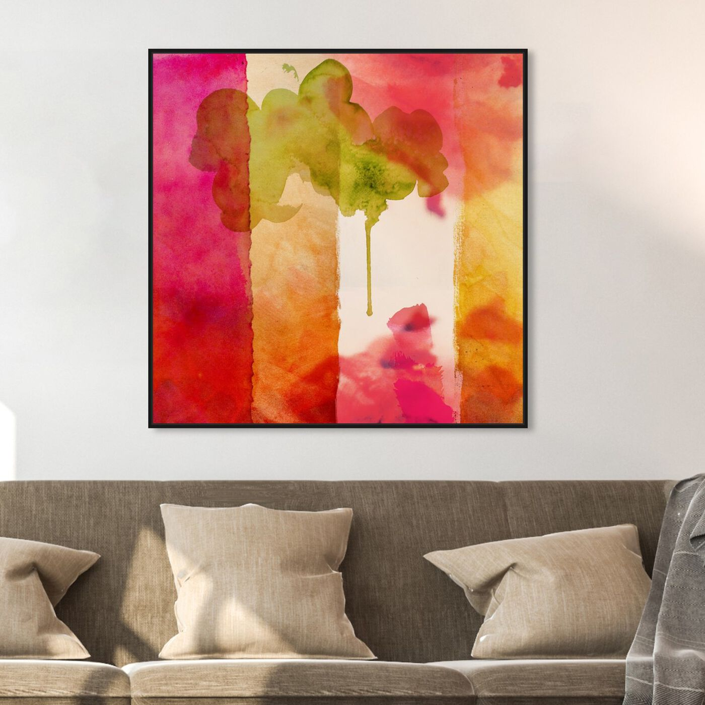 Hanging view of Amber Velvet featuring abstract and watercolor art.
