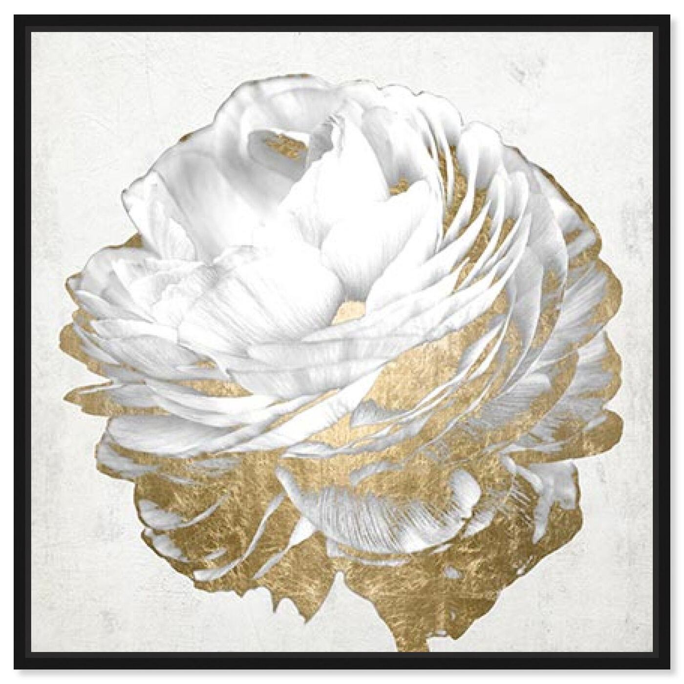 Front view of Gold and Light Floral White featuring floral and botanical and florals art.