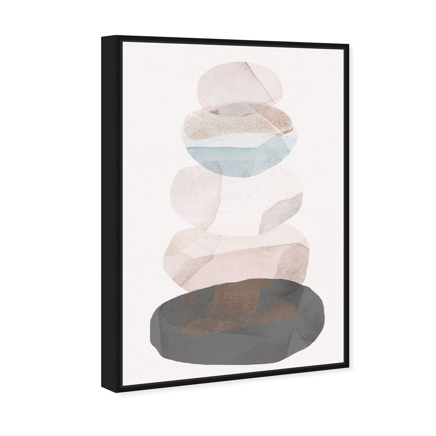 Angled view of Pebble Stack featuring abstract and geometric art.