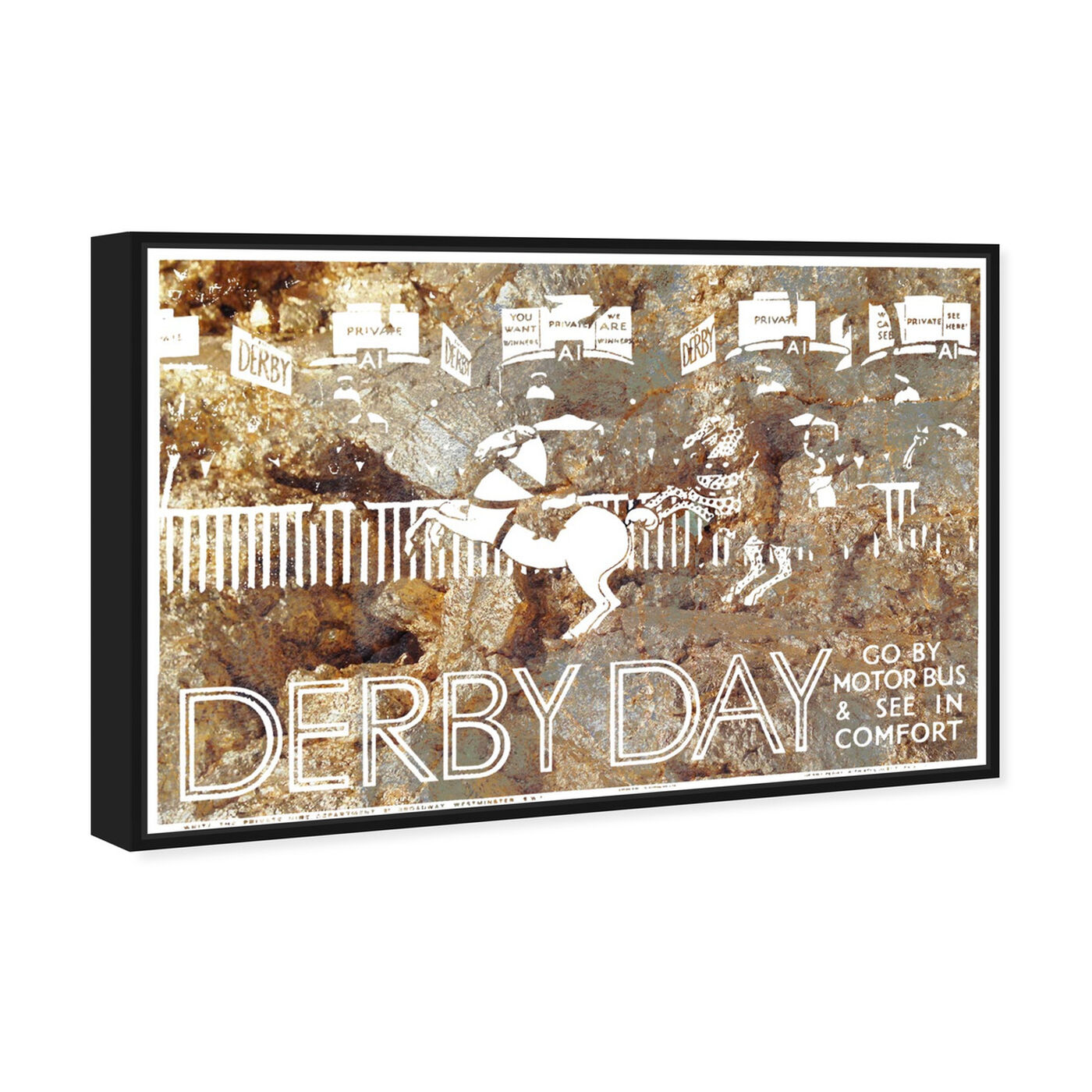 Angled view of Come See The Derby featuring sports and teams and equestrian art.