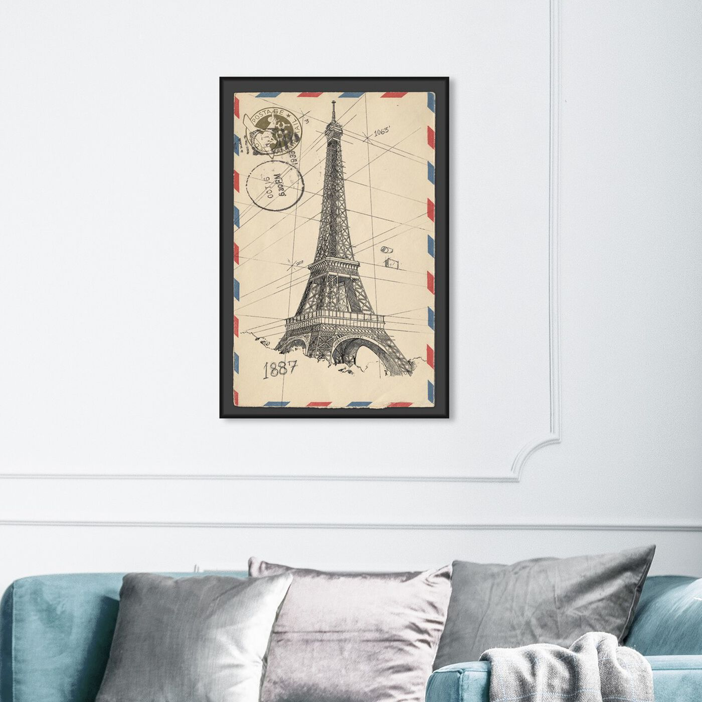 Hanging view of Eiffel Post featuring cities and skylines and european cities art.