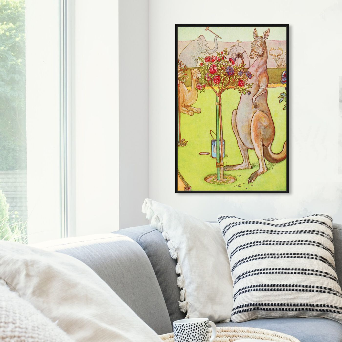 Hanging view of Painting Kangaroo featuring animals and zoo and wild animals art.