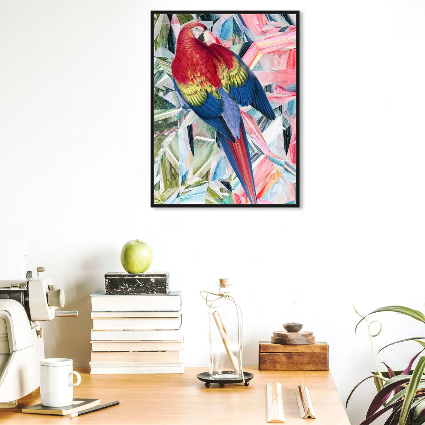 Hanging view of Modern Parrot featuring animals and birds art.