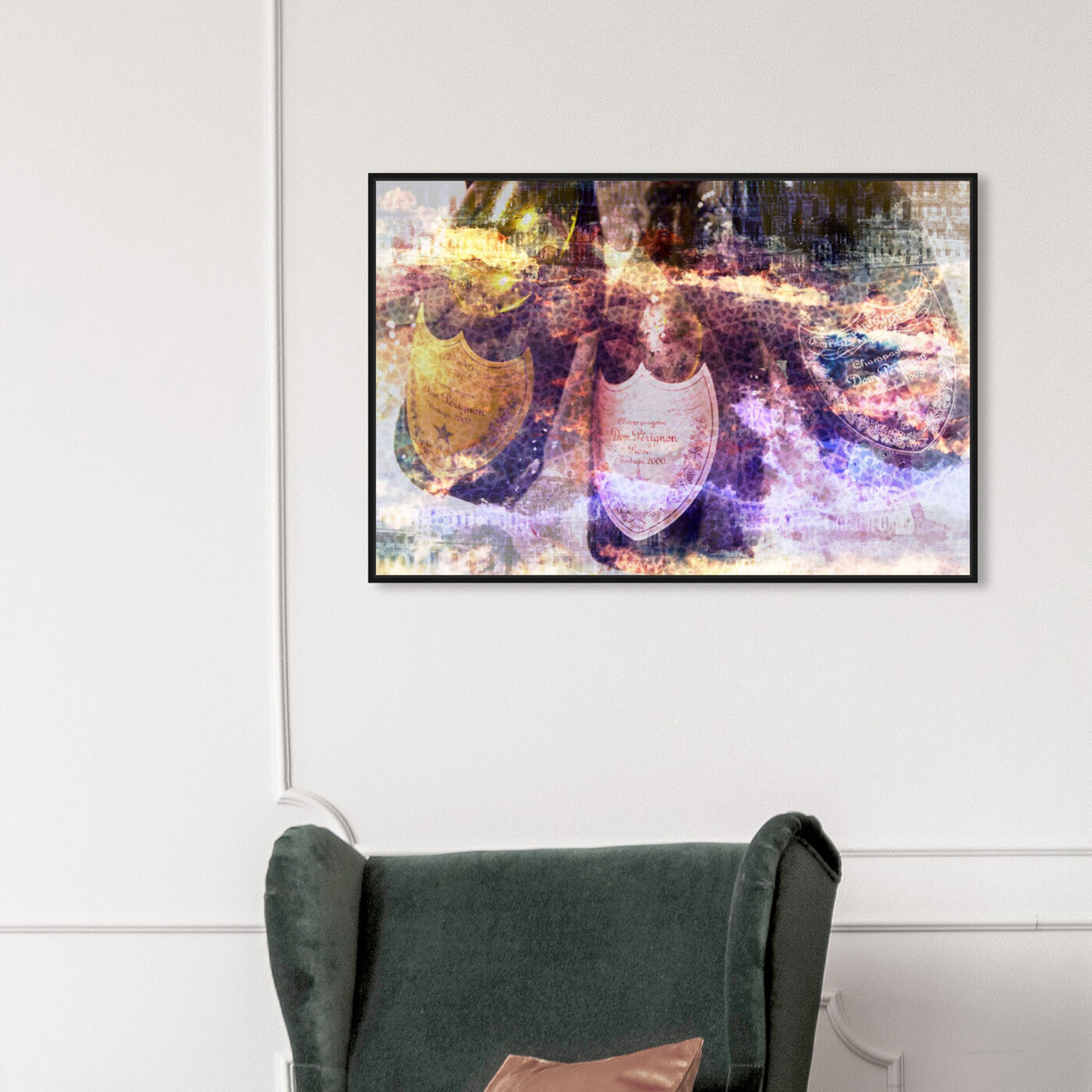 Hanging view of Champagne Bath featuring drinks and spirits and champagne art.